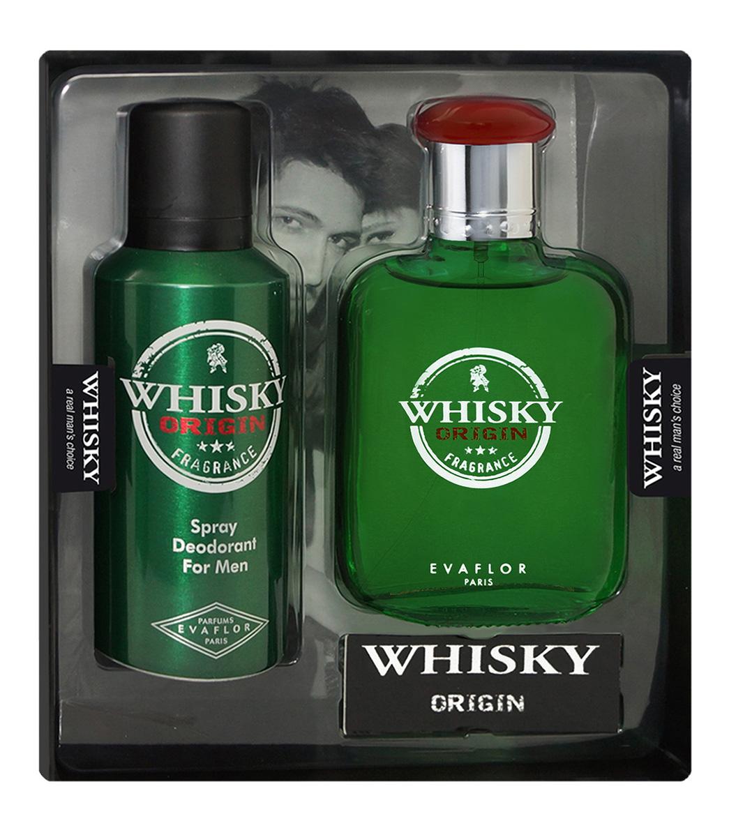Evaflor Подарочный набор Whisky Origin мужской: Туалетная вода,100 мл , дезодорант, 150 мл42902Подарочный набор для мужчин : туалетная вода 100мл, парфюмированный дезодорант 150 мл.
