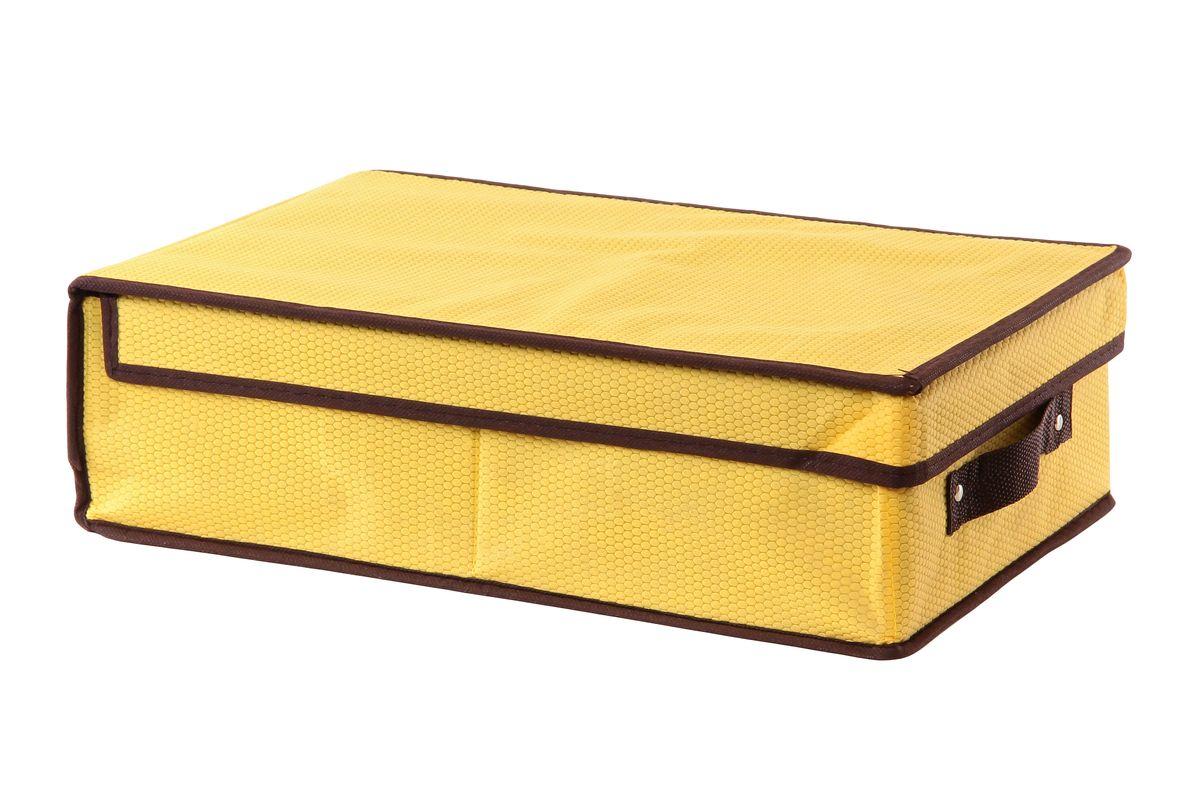 Кофр для хранения El Casa Соты, складной, цвет: желтый, 27 x 41 x 12 см + ПОДАРОК: Контейнер для хранения продуктов Xeonic, 110 мл370051+2Вместительный кофр El Casa Соты, изготовленный из дышащего нетканого волокна, предназначен для хранения одеял, пледов и домашнего текстиля. Специальный нетканый материал позволяет воздуху проникать внутрь, при этом надежно защищая вещи от грязи, пыли и насекомых. Оригинальный дизайн сделает вашу гардеробную красивой и невероятно стильной. Размер кофра (в собранном виде): 27 см х 41 см х 12 см. В подарок к кофру прилагается герметичный контейнер для продуктов. Контейнер для хранения продуктов выполнен из высококачественного полипропилена. Он имеет 100% герметичность, термоустойчив, может быть использован в микроволновой печи и в морозильной камере, устойчив к воздействию масел и жиров, не впитывает запах. Удобен в использовании, долговечен, легко открывается и закрывается, не занимает много места. Контейнер можно мыть в посудомоечной машине. Размер контейнера: 9,5 см х 9,5 см х 3 см. Объем контейнера: 110 мл.