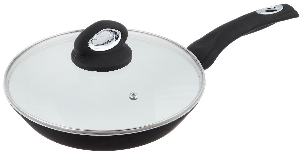 Сковорода BartonSteel с крышкой, с керамическим покрытием, цвет: черный. Диаметр 24 см7044BSNEW_черныйСковорода BartonSteel изготовлена из прочной нержавеющей стали с внутренним керамическим покрытием, которое обладает высокой прочностью. Кроме того, с таким покрытием пища не пригорает и не прилипает к стенкам. Готовить можно с минимальным количеством подсолнечного масла. Сковорода быстро разогревается, распределяя тепло по всей поверхности, что позволяет готовить в энергосберегающем режиме, значительно сокращая время, проведенное у плиты. Сковорода оснащена удобной ручкой, выполненной из бакелита с силиконовым покрытием. Такая ручка не нагревается в процессе готовки и обеспечивает надежный хват. Крышка изготовлена из жаропрочного стекла, оснащена ручкой, отверстием для выхода пара и металлическим ободом. Благодаря такой крышке можно следить за приготовлением пищи без потери тепла. Подходит для всех типов плит, включая индукционные. Можно мыть в посудомоечной машине. Диаметр сковороды: 24 см. Высота стенки: 4,5 см. ...