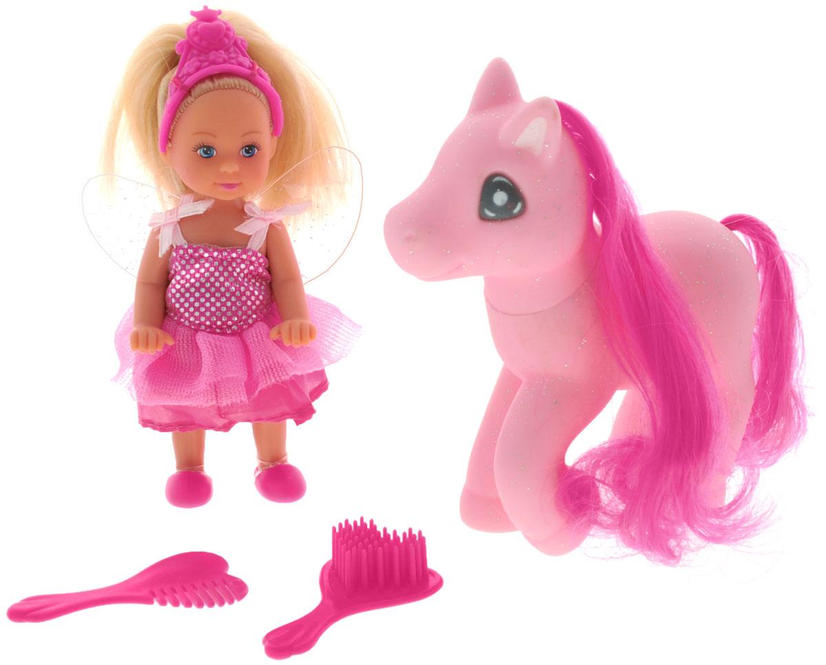 Simba Игровой набор с мини-куклой Еви и пони5738667_св. розовыйИгровой набор Еви и пони не оставит равнодушной ни одну девочку. Крошка Еви, вместе с волшебной розовой пони собрались на бал! Куколка с длинными светлыми волосами одета в праздничное розовое платье, на ногах - розовые ботинки. На голове у куклы ярко-розовая диадема. Еви стоит рядом со своей пони с шикарной розовой гривой и огромными глазками. В наборе имеются две оригинальные расчески в форме сердечек. Благодаря маленьким размерам элементов набора ваша малышка сможет брать его с собой на прогулку или в гости. Порадуйте ее таким замечательным подарком!