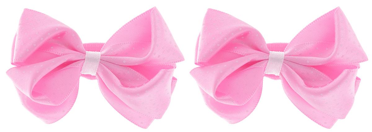 Babys Joy Резинка для волос цвет розовый белый 2 шт MN 76/2MN 76/2_розовый/белый горошекРезинка для волос Babys Joy выполнена в форме банта-бабочки из текстиля и дополнена милым бантиком из атласа, который оформлен принтом горох. Резинка для волос Babys Joy надежно зафиксирует волосы и подчеркнет красоту прически вашей маленькой модницы. В упаковке: 2 резинки. Рекомендовано для детей старше трех лет.
