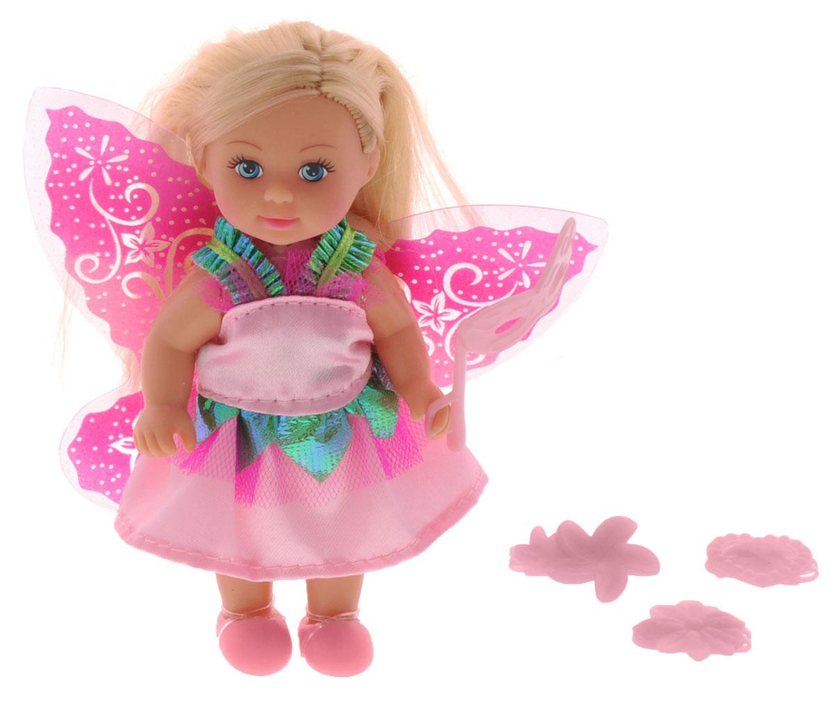 Simba Мини-кукла Еви-фея цвет платья розовый5736592_розовое платьеМини-кукла Simba Еви-фея порадует любую девочку и поможет ей погрузиться в сказочный мир волшебства. В комплект входит кукла Еви и стильные аксессуары. Кукла одета в длинное платье, украшенное блестящими вставками, на ногах у нее - удобные ботиночки. За спиной Еви - прекрасные крылья феи. Вашей дочурке непременно понравится заплетать длинные белокурые волосы куклы, придумывая разнообразные прически. В комплект также входит маскарадная маска и 3 заколки: в виде звездочек, сердечка и бантика. Заколки, крылья, ботинки и маска светятся в темноте. Руки, ноги и голова куклы подвижны, благодаря чему ей можно придавать разнообразные позы. Игры с куклой способствуют эмоциональному развитию, помогают формировать воображение и художественный вкус, а также разовьют в вашей малышке чувство ответственности и заботы. Великолепное качество исполнения делают эту куколку чудесным подарком к любому празднику.