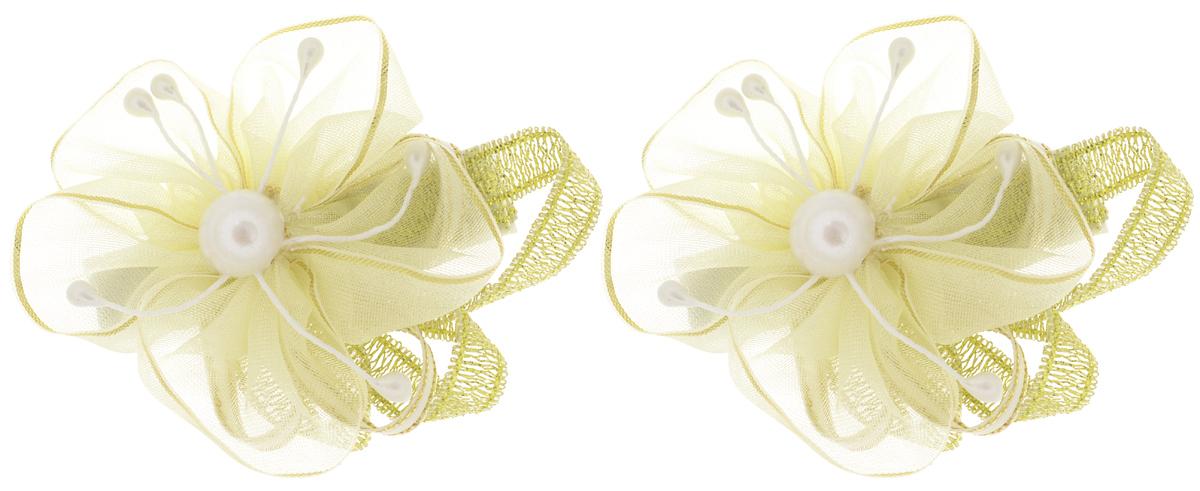 Babys Joy Заколка для волос цвет желтый золотой 2 шт K 5К 5_золотойЗаколка для волос Babys Joy, выполненная из металла, оформлена оригинальным цветком из органзы, который дополнен текстильной ленточкой и бусиной по центру. Заколка для волос Babys Joy надежно зафиксирует волосы и подчеркнет красоту прически вашей маленькой модницы В упаковке: 2 заколки. Рекомендовано для детей старше трех лет.
