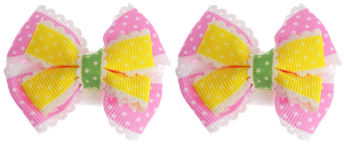Babys Joy Резинка для волос цвет желтый розовый зеленый 2 шт MN 13MN 13_желтый/розовыйРезинка для волос Babys Joy выполнена в виде банта-бабочки из текстиля с принтом в горох и дополнена бантиком контрастного цвета. Резинка для волос Babys Joy надежно зафиксирует волосы и подчеркнет красоту прически вашей маленькой модницы. В упаковке: 2 резинки. Рекомендовано для детей старше трех лет.