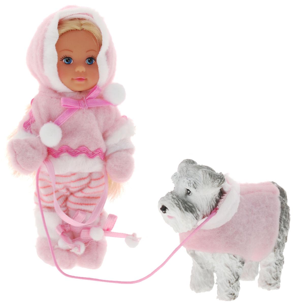 Simba Мини-кукла Еви на зимней прогулке с собачкой5735996_розовый костюмКукла Simba Еви на зимней прогулке с собачкой порадует любую девочку и надолго увлечет ее. В комплект входит куколка Еви и ее питомец - большая серая собака в зимней одежде. Малышка Еви одета в розовый теплый костюмчик, шапочку и варежки. На ногах у нее - розовые мягкие сапожки. Вашей дочурке непременно понравится заплетать длинные белокурые волосы куклы, придумывая разнообразные прически. Руки, ноги и голова куклы подвижны, благодаря чему ей можно придавать разнообразные позы. Игры с куклой способствуют эмоциональному развитию, помогают формировать воображение и художественный вкус, а также разовьют в вашей малышке чувство ответственности и заботы. Великолепное качество исполнения делают эту куколку чудесным подарком к любому празднику.