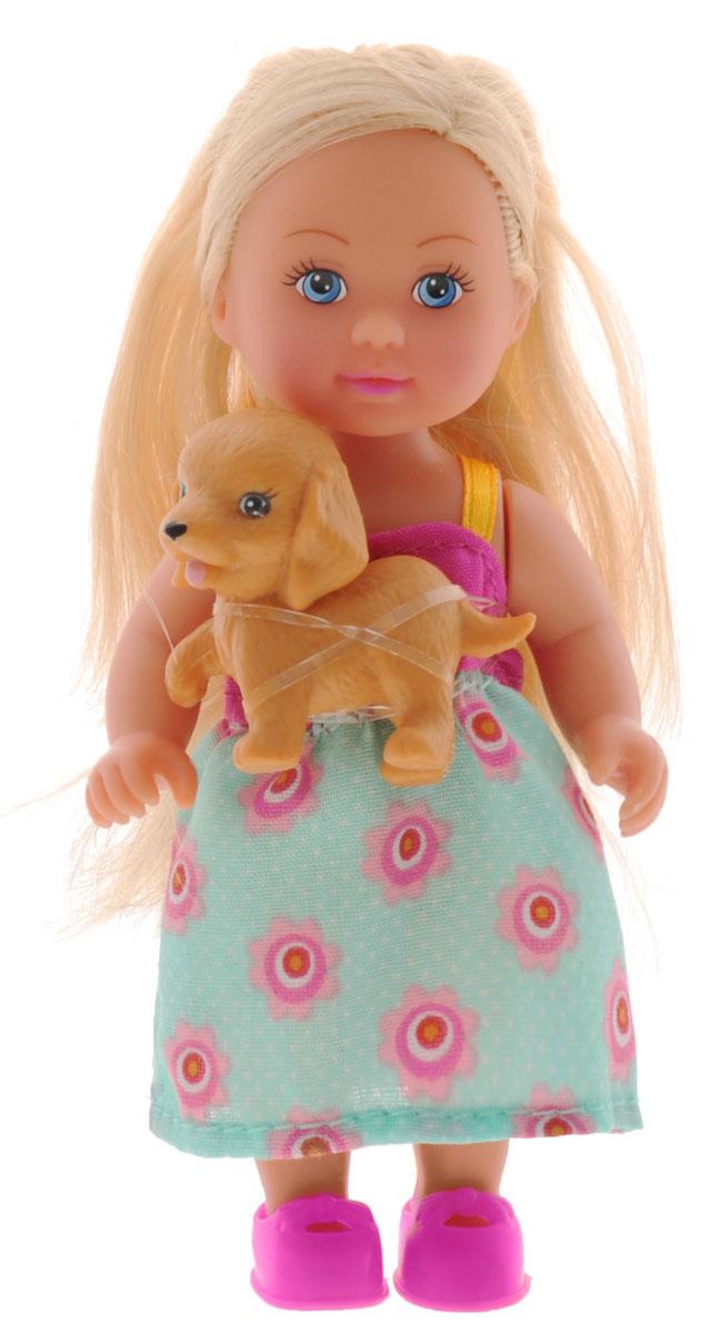Simba Мини-кукла Еви с собачкой5730513_платье розовый, бирюзовый, собачкаКукла Simba Еви с собачкой порадует любую девочку и надолго увлечет ее. В комплект входит куколка Еви и ее питомец - маленький щеночек. Малышка Еви одета в платье бирюзового цвета, на ногах у нее - розовые туфельки. Вашей дочурке непременно понравится заплетать длинные белокурые волосы куклы, придумывая разнообразные прически. Руки, ноги и голова куклы подвижны, благодаря чему ей можно придавать разнообразные позы. Игры с куклой способствуют эмоциональному развитию, помогают формировать воображение и художественный вкус, а также разовьют в вашей малышке чувство ответственности и заботы. Великолепное качество исполнения делают эту куколку чудесным подарком к любому празднику.