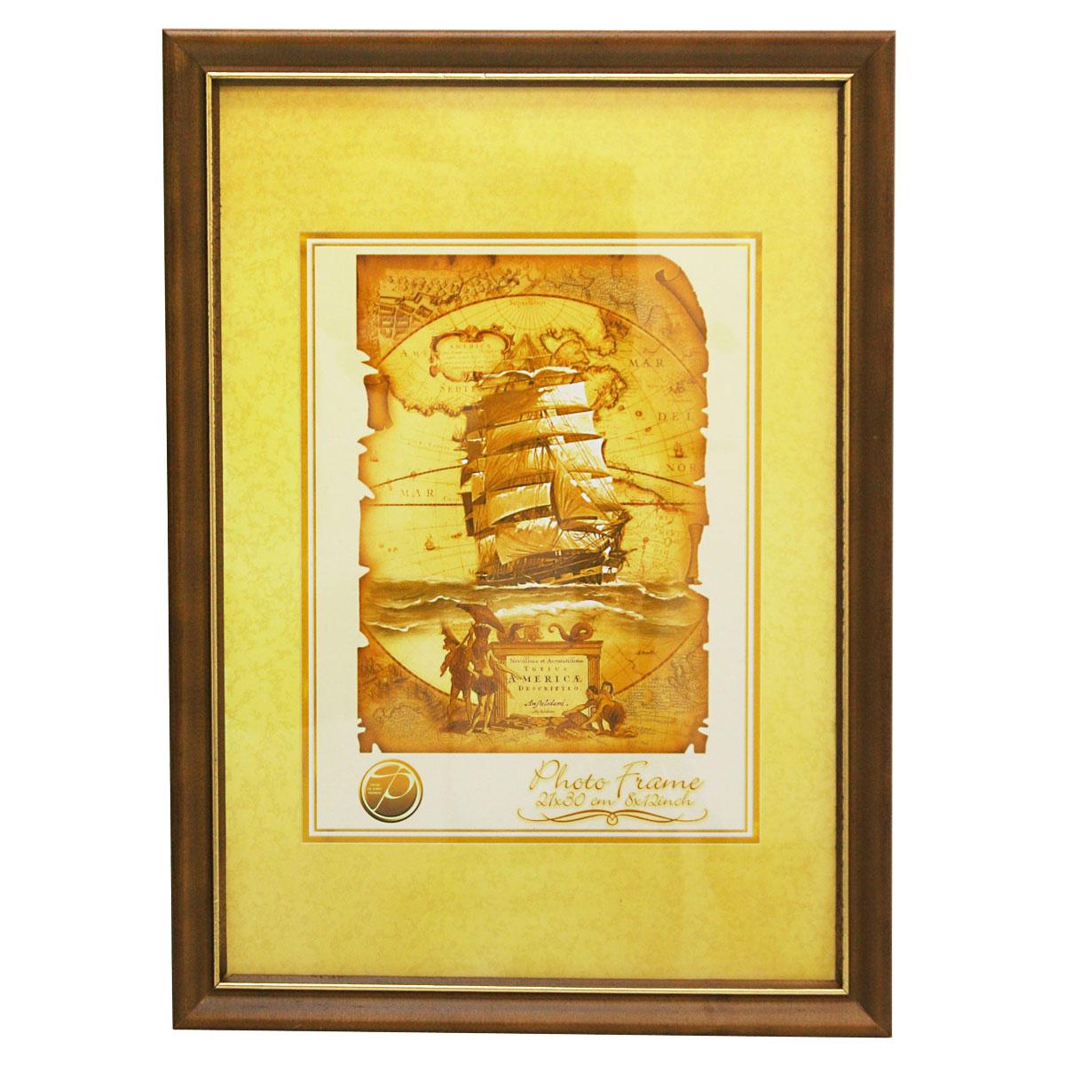 Фоторамка Pioneer Nancy, цвет: темно-коричневый, золотистый, 21 х 30 см6300155_тем. коричневыйФоторамка Pioneer Nancy выполнена из высококачественного дерева и стекла, защищающего фотографию. Оборотная сторона рамки оснащена специальной ножкой, благодаря которой ее можно поставить на стол или любое другое место в доме или офисе. Также на изделии имеются два специальных отверстия для подвешивания. Такая фоторамка поможет вам оригинально и стильно дополнить интерьер помещения, а также позволит сохранить память о дорогих вам людях и интересных событиях вашей жизни. Размер фотографии: 21 см х 30 см.