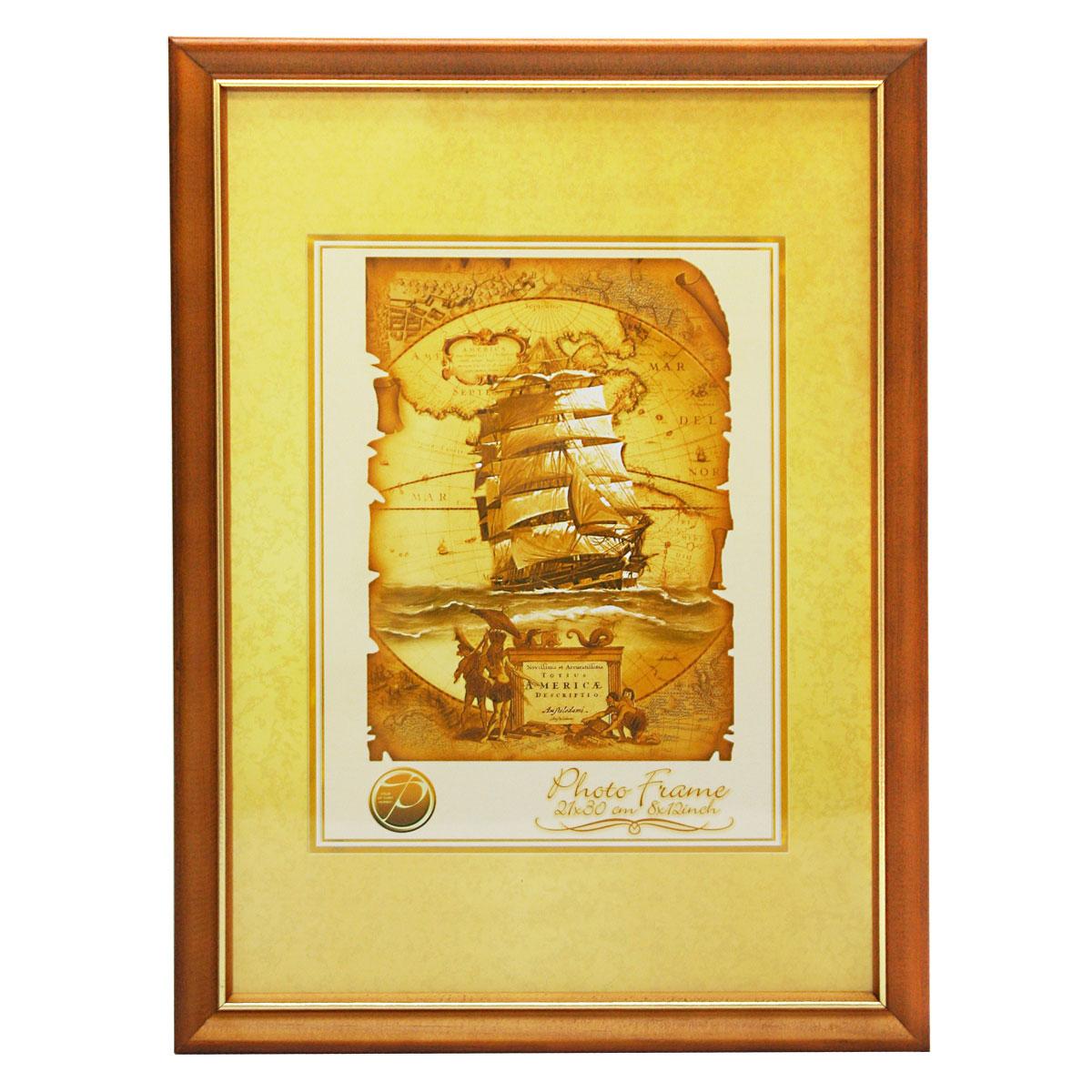 Фоторамка Pioneer Nancy, цвет: светло-коричневый, золотистый, 21 см х 30 см6300155_св. коричневыйФоторамка Pioneer Nancy выполнена из высококачественного дерева и стекла, защищающего фотографию. Оборотная сторона рамки оснащена специальной ножкой, благодаря которой ее можно поставить на стол или любое другое место в доме или офисе. Также на изделии имеются два специальных отверстия для подвешивания. Такая фоторамка поможет вам оригинально и стильно дополнить интерьер помещения, а также позволит сохранить память о дорогих вам людях и интересных событиях вашей жизни. Размер фотографии: 21 см х 30 см.