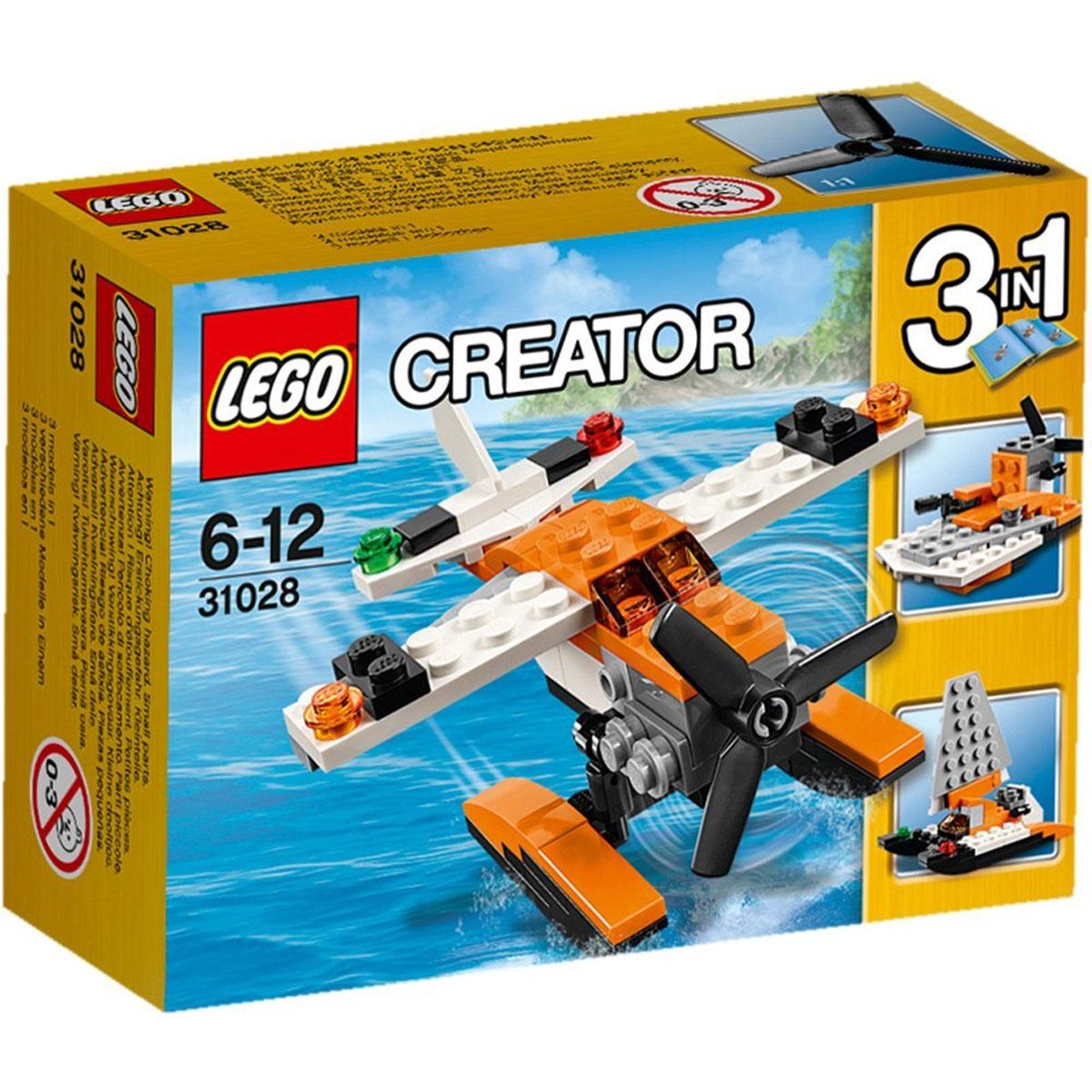 LEGO Creator Конструктор Гидроплан31028Скользите по волнам на гидроплане! Закрутите пропеллер и подайте мощность. Прогремите над океаном и взлетайте в небо, выполняйте классные маневры в воздухе, потом приводняйтесь на поверхность океана. Гидроплан из набора Лего - это уникальный летательный аппарат, позволяющий взлетать и приземляться на поверхность воды. Его основной задачей является патрулирование береговой линии и оказание помощи всем, кто попал в беду на воде. Корпус гидроплана выполнен из контрастных оранжево-белых деталей, хорошо заметных в небе. В носовой части фюзеляжа установлен трёхлопастной вращающийся пропеллер. За ним видна кабина пилота с тонированным ветровым стеклом и длинные крылья с сигнальными огнями. В задней части располагается хвост с килем и аэронавигационные огни. Главной особенностью гидроплана служат два продолговатых поплавка, прикреплённые к днищу. Они полностью заменяют обычное шасси и помогают приземлиться практически на любой водоём. При желании гидроплан можно переделать в катер для...