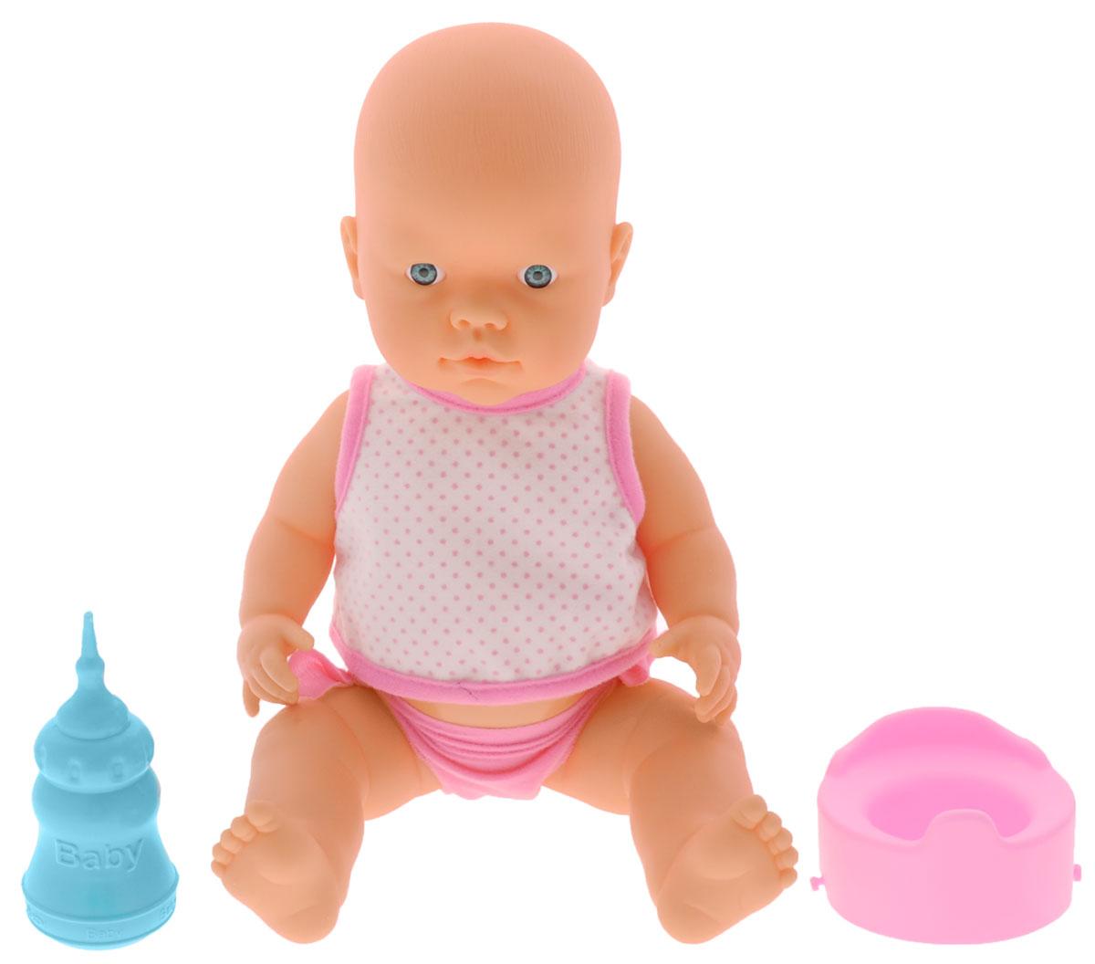 Falca Пупс Baby Pipi цвет одежды белый в розовый горошек1102567_в розовый горошек, горшок розовыйПупс Falca Baby Pipi порадует вашу малышку и доставит ей много удовольствия от часов, посвященных игре с ней. Кукла выглядит как настоящий малыш. Пупс одет в майку и трусики. В набор также входят бутылочка для кормления и горшок. Кукла не только пьет водичку из бутылочки, но и писает в горшок, благодаря чему еще больше похожа на настоящего ребенка. После кормления и туалета пупса можно искупать. Игра с куклой разовьет в вашей малышке чувство ответственности и заботы. Порадуйте свою принцессу таким великолепным подарком!