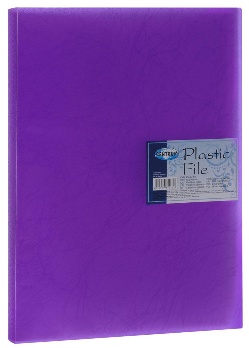 Centrum Папка с файлами Soft Touch 20 листов цвет фиолетовый84035_фиолетовыйПапка Centrum Soft Touch с 20 прозрачными вкладышами-файлами предназначена для хранения и презентации документов формата А4. Папка изготовлена из полупрозрачного фактурного пластика, благодаря чему документы, помещенные в нее, будут надежно защищены. Прочное соединение папки и вкладышей обеспечено за счет их лазерной сварки. Углы папки закруглены. Папка надежно сохранит ваши документы и сбережет их от повреждений, пыли и влаги.