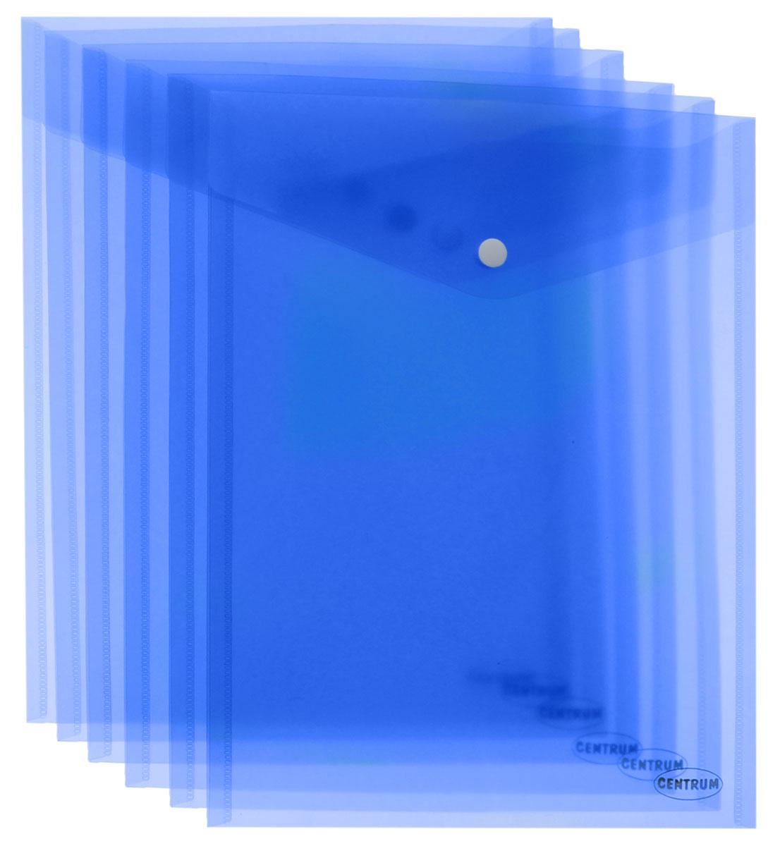 Centrum Папка-конверт на кнопке 6 шт цвет голубой80046О_голубойВертикальная папка-конверт Centrum - это удобный и функциональный офисный инструмент, предназначенный для хранения и транспортировки рабочих бумаг и документов формата А4. Папка изготовлена из полупрозрачного пластика, закрывается клапаном на кнопке. В комплект входят 6 папок голубого цвета формата A4. Папка-конверт - это незаменимый атрибут для студента, школьника, офисного работника. Такая папка надежно сохранит ваши документы и сбережет их от повреждений, пыли и влаги.