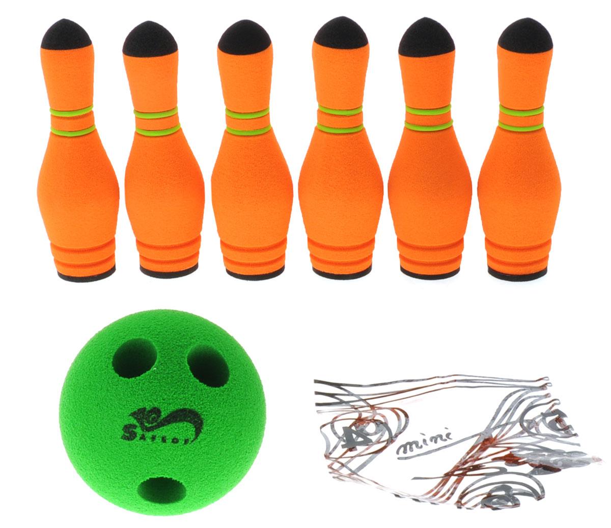 Safsof Игровой набор Мини-боулинг цвет оранжевый зеленыйMBB-05(B)_оранжевый, зеленыйИгровой набор Safsof Мини-боулинг, изготовленный из вспененной резины, состоит из шести кеглей и шара. Набор выполнен из мягкого материала, что обеспечивает безопасность ребенку. Суть игры в боулинг - сбить шаром максимальное количество кеглей. Число игроков и количество туров - произвольное. Очки, набранные с каждым броском мяча, рассматриваются как количество сбитых кегель. Расстояние, с которого совершается бросок, определяется игроками. Каждый игрок имеет право на два броска в одной рамке (рамка - треугольник, на поле которого выстраиваются кегли перед каждым первым броском очередного игрока). Бросок, при котором все кегли сбиты, называется страйк и обозначается как Х. Если все кегли сбиты первым броском, второй бросок не требуется: рамка считается закрытой. Призовые очки за страйк - это сумма кеглей, сбитых игроком следующими двумя бросками. Выигрывает тот игрок, который в сумме набирает больше очков.