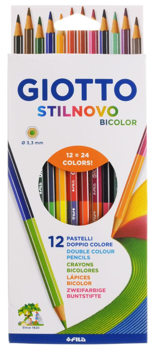 Giotto Набор цветных карандашей Stilnovo Bicolor Ast 12 штук256900_24 цветаНабор цветных карандашей Giotto Stilnovo Bicolor Ast непременно понравятся вашему юному художнику. Набор включает в себя 12 ярких двусторонних цветных карандашей. Изготовлены из натурального дерева, экологически чистые. Имеют ударопрочный неломающийся грифель, не требующий сильного нажатия. Легко затачиваются, не крошатся. Порадуйте своего ребенка таким восхитительным подарком! В комплекте: 12 цветных карандашей по 2 цвета.