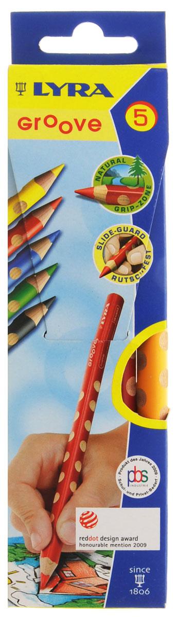 Lyra Набор цветных карандашей Groove 5 штL3811050_5 цветовНабор цветных карандашей Lyra Groove откроют юным художникам новые горизонты для творчества, а также помогут отлично развить мелкую моторику рук, цветовое восприятие, фантазию и воображение. В комплекте: 5 заточенных цветных карандашей. Они имеют треугольную форму для удобного захвата. Идеально подходят для школы. Карандаши изготовлены из дерева, экологически чистые, с лакированным покрытием. Имеют прочный неломающийся грифель, не требующий сильного нажатия и легко затачиваются.
