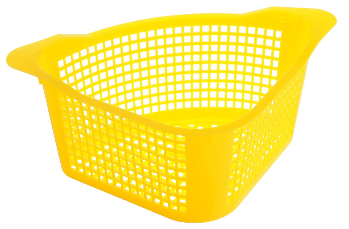 Корзинка универсальная Econova, угловая, цвет: желтый, 29 х 18 х 12 см718343_желтыйУниверсальная угловая корзинка Econova, изготовленная из высококачественного прочного пластика, предназначена для хранения мелочей в ванной, на кухне или даче. Это легкая корзина с жесткой кромкой и небольшими отверстиями позволяет хранить мелкие вещи, исключая возможность их потери. Размер: 29 см х 18 см х 12 см.