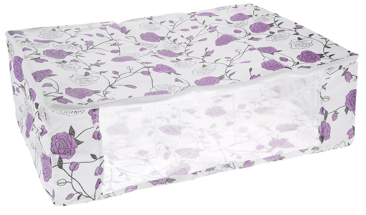 Чехол для хранения одеял Eva, цвет: белый, фиолетовый, 60 х 40 х 20 смЕ52_белый/фиолетовые розыЧехол Eva изготовлен из ППР и ПВХ и предназначен для хранения одеял. Нетканый материал чехла пропускает воздух, что позволяет изделиям дышать. Это особенно необходимо для изделий из натуральных материалов. Благодаря такому чехлу, вещи не впитывают посторонние запахи. Застегивается на застежку-молнию. Материал: ППР, ПВХ.