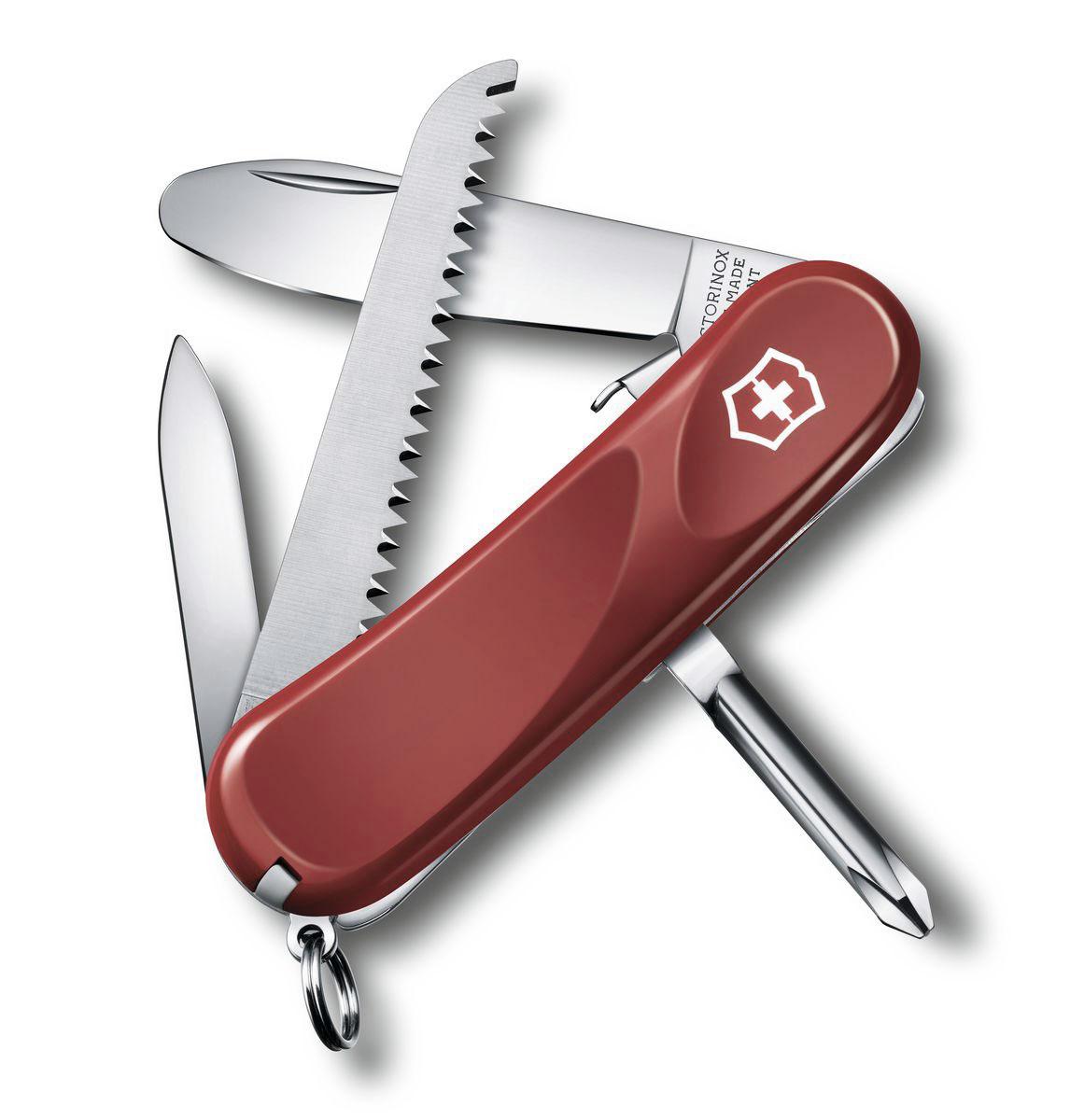 Нож перочинный Victorinox Junior, цвет: красный, 8 функций, 8,5 см2.4213.SKEЛезвие перочинного складного ножа Victorinox Sentinel One Hand изготовлено из высококачественной нержавеющей стали. Ручка, выполненная из прочного пластика, обеспечивает надежный и удобный хват. Хорошее качество, надежный долговечный материал и эргономичная рукоятка - что может быть удобнее на природе или на пикнике! Функции ножа: Фиксирующееся лезвие с закругленным кончиком. Пилка для ногтей с инструментом по уходу за ногтями. Пила по дереву. Крестовая отвертка. Кольцо для ключей. Пинцет. Зубочистка. Длина ножа в сложенном виде: 8,5 см. Длина ножа в разложенном виде: 14,5 см.