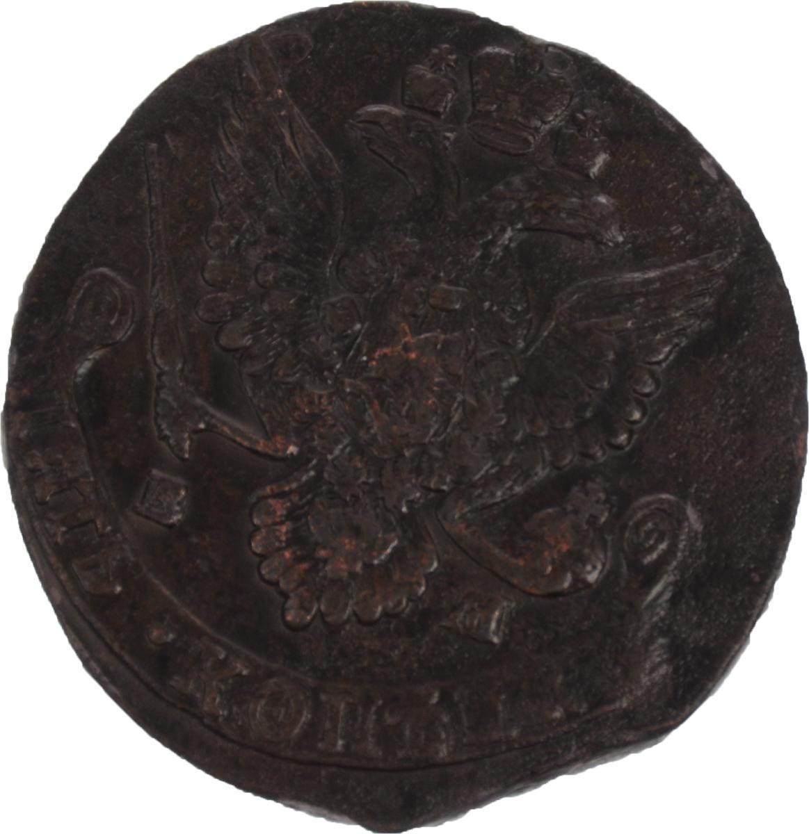 Монета номиналом 5 копеек. Медь. Российская империя, 1787 год