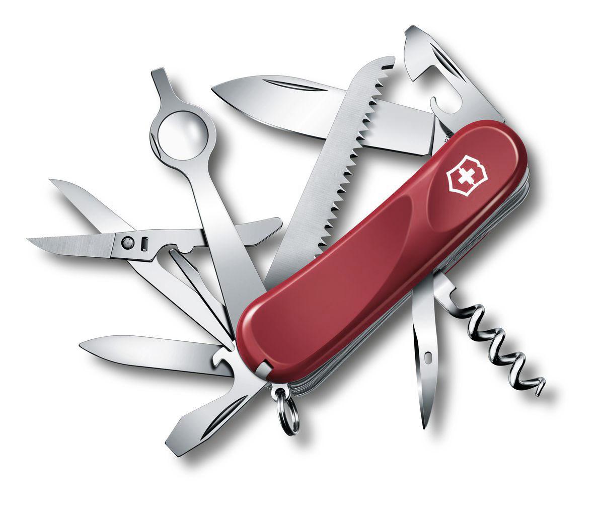 Нож перочинный Victorinox Evolution 23, цвет: красный, 17 функций, 8,5 см2.5013.EЛезвие перочинного складного ножа Victorinox Evolution 23 изготовлено из высококачественной нержавеющей стали. Ручка, выполненная из прочного пластика, обеспечивает надежный и удобный хват. Хорошее качество, надежный долговечный материал и эргономичная рукоятка - что может быть удобнее на природе или на пикнике! Функции ножа: Лезвие. Пилка для ногтей с инструментом по уходу за ногтями. Ножницы с серейторной заточкой. Консервный нож с малой отверткой. Открывалка для бутылок с фиксирующейся отверткой. Инструмент для снятия изоляции. Пила по дереву. Лупа с отверткой для точных работ. Шило, кернер. Кольцо для ключей. Пинцет. Зубочистка. Длина ножа в сложенном виде: 8,5 см. Длина ножа в разложенном виде: 15 см.