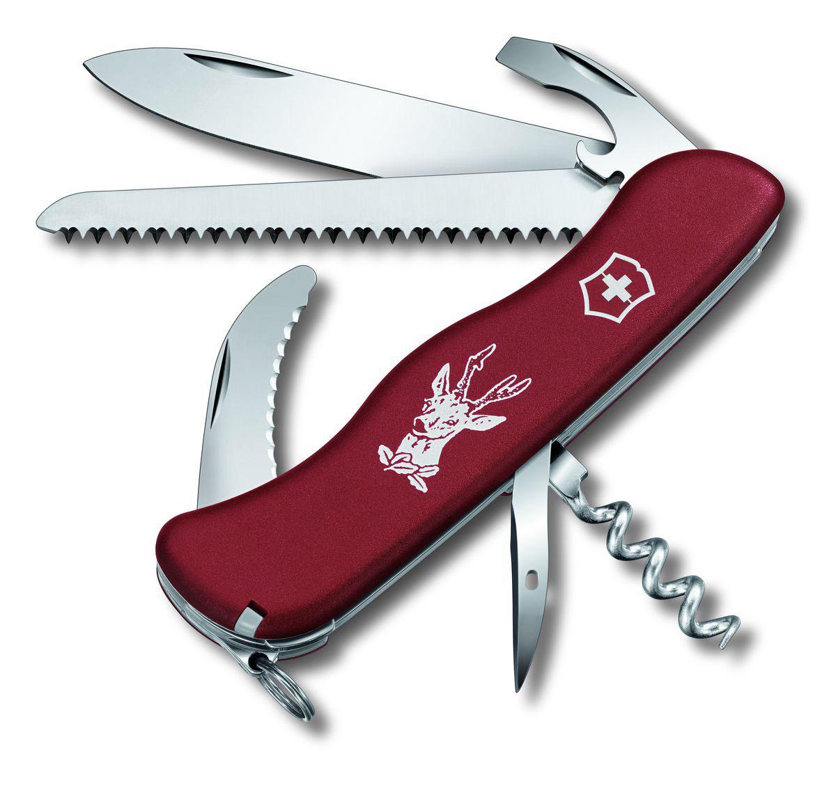 Нож перочинный Victorinox Hunter, цвет: красный, 12 функций, 11,1 см0.8873Лезвие перочинного складного ножа Victorinox Hunter изготовлено из высококачественной нержавеющей стали. Ручка, выполненная из прочного пластика, обеспечивает надежный и удобный хват. Хорошее качество, надежный долговечный материал и эргономичная рукоятка - что может быть удобнее на природе или на пикнике! Функции ножа: Фиксирующееся лезвие. Штопор. Пила по дереву. Лезвие для разделки туш. Универсальный инструмент с открывалкой для бутылок. Консервный нож. Отвертка. Инструмент для снятия изоляции. Шило, кернер. Кольцо для ключей. Пинцет. Зубочистка. Длина ножа в сложенном виде: 11,1 см. Длина ножа в разложенном виде: 19,5 см.