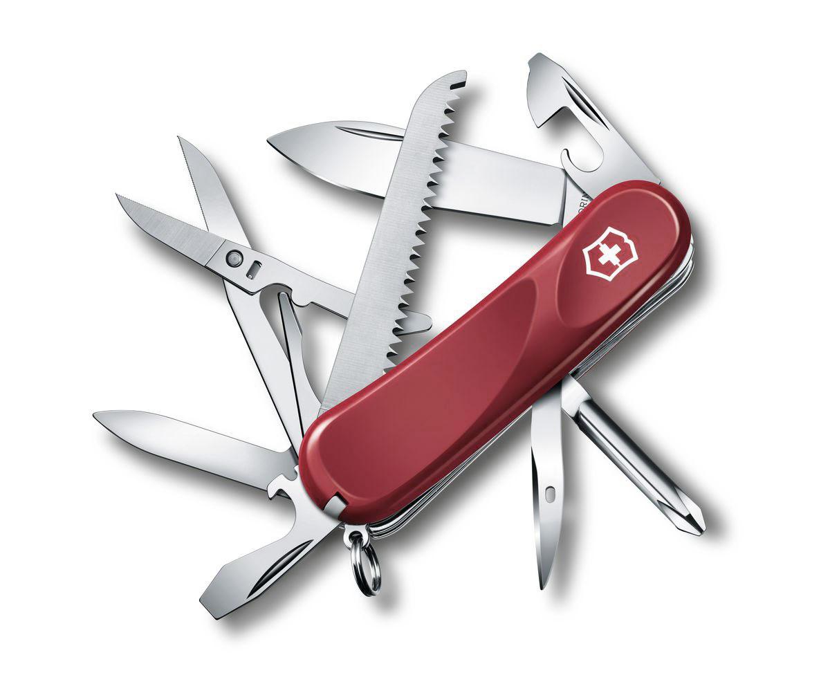 Нож перочинный Victorinox Evolution 18, цвет: красный, 15 функций, 8,5 см2.4913.EЛезвие перочинного складного ножа Victorinox Evolution 18 изготовлено из высококачественной нержавеющей стали. Ручка, выполненная из прочного пластика, обеспечивает надежный и удобный хват. Хорошее качество, надежный долговечный материал и эргономичная рукоятка - что может быть удобнее на природе или на пикнике! Функции ножа: Лезвие. Пилка для ногтей с инструментом по уходу за ногтями. Ножницы с серрейторной заточкой. Консервный нож с малой отверткой. Открывалка для бутылок с фиксирующейся отверткой. Инструментом для снятия изоляции. Крестовая отвертка. Шило, кернер. Кольцо для ключей. Пинцет. Зубочистка. Длина ножа в сложенном виде: 8,5 см. Длина ножа в разложенном виде: 15 см.
