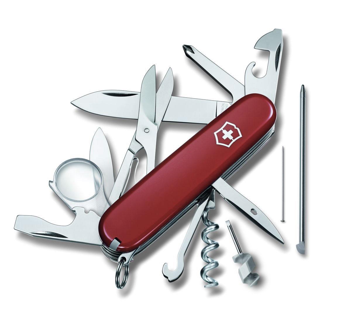 Нож перочинный Victorinox Explorer, цвет: красный, 19 функций, 9,1 см1.6705Лезвие перочинного складного ножа Victorinox Explorer изготовлено из высококачественной нержавеющей стали. Ручка, выполненная из прочного пластика, обеспечивает надежный и удобный хват. Хорошее качество, надежный долговечный материал и эргономичная рукоятка - что может быть удобнее на природе или на пикнике! Функции ножа: Большое лезвие. Малое лезвие. Штопор. Консервный нож с малой отверткой. Открывалка для бутылок с отверткой. Инструментом для снятия изоляции. Шило, кернер. Кольцо для ключей. Пинцет. Зубочистка. Ножницы. Многофункциональный крючок. Крестовая отвертка. Лупа. Шариковая ручка. Булавка из нержавеющей стали. Мини-отвертка. Длина ножа в сложенном виде: 9,1 см. Длина ножа в разложенном виде: 16 см. Длина большого лезвия: 6,8 см. Длина малого лезвия: 4 см.