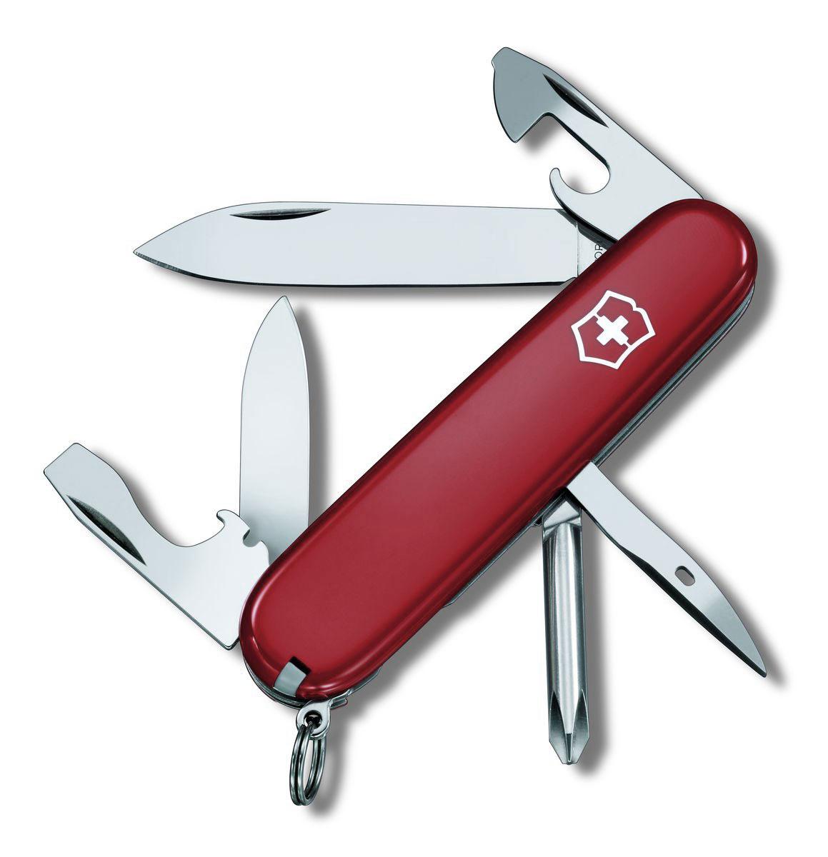Нож перочинный Victorinox Tinker, цвет: красный, 12 функций, 9,1 см1.4603Лезвие перочинного складного ножа Victorinox Tinker изготовлено из высококачественной нержавеющей стали. Ручка, выполненная из прочного пластика, обеспечивает надежный и удобный хват. Хорошее качество, надежный долговечный материал и эргономичная рукоятка - что может быть удобнее на природе или на пикнике! Функции ножа: Большое лезвие. Малое лезвие. Крестовая отвертка. Консервный нож с малой отверткой. Открывалка для бутылок с отверткой. Инструментом для снятия изоляции. Шило, кернер. Кольцо для ключей. Пинцет. Зубочистка. Длина ножа в сложенном виде: 9,1 см. Длина ножа в разложенном виде: 16 см. Длина большого лезвия: 7 см. Длина малого лезвия: 4 см.