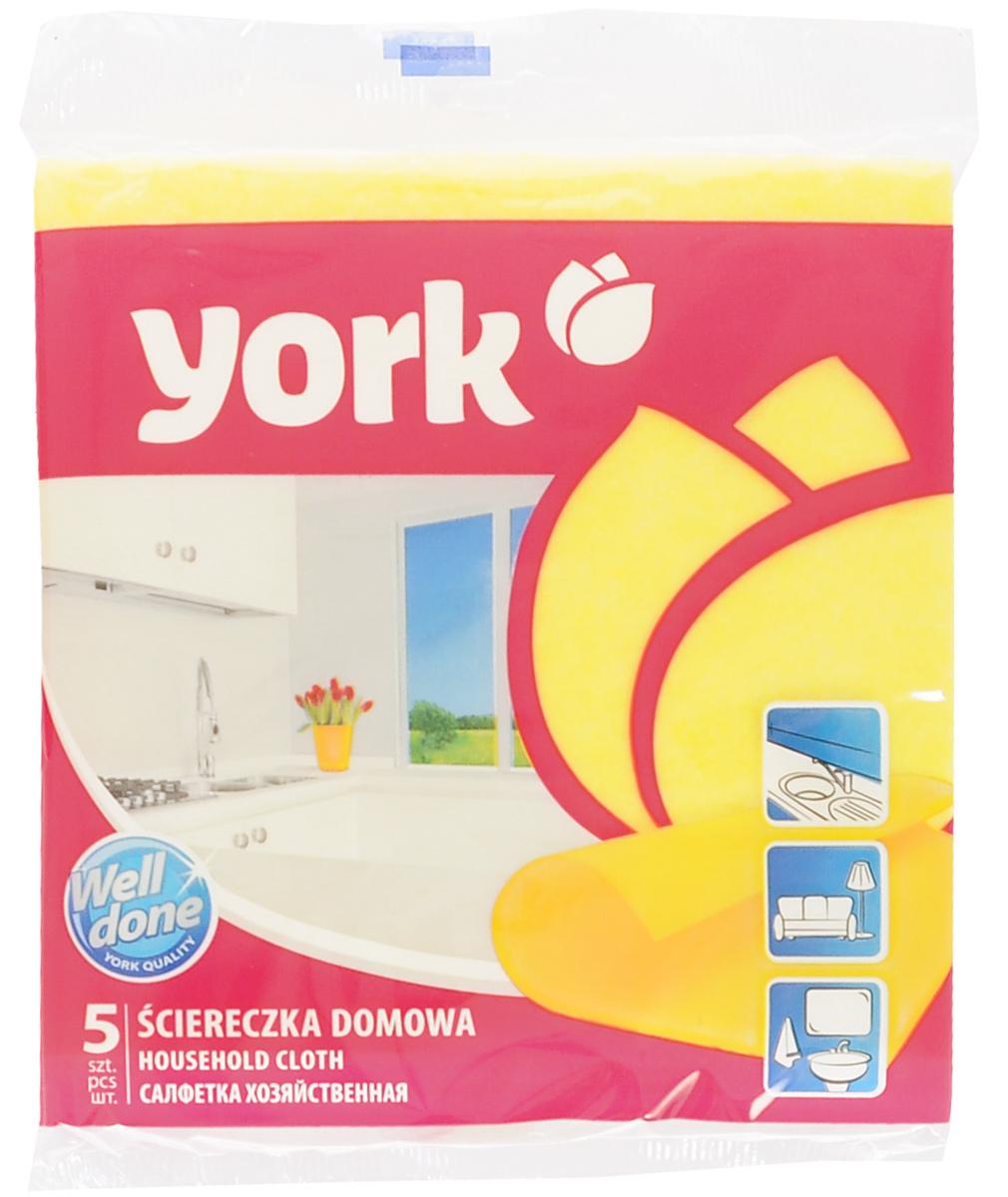 Салфетка хозяйственная York, цвет: желтый, 35 х 35 см, 5 шт2002_желтыйУниверсальная салфетка York предназначена для мытья, протирания и полировки. Она выполнена из вискозы с добавлением полипропиленового волокна, отличается высокой прочностью. Хорошо поглощает влагу, эффективно очищает поверхности и не оставляет ворсинок. Идеальна для ухода за столешницами и раковиной на кухне, за стеклом и зеркалами, деревянной мебелью. Может использоваться в сухом и влажном виде. В комплект входят 5 салфеток.