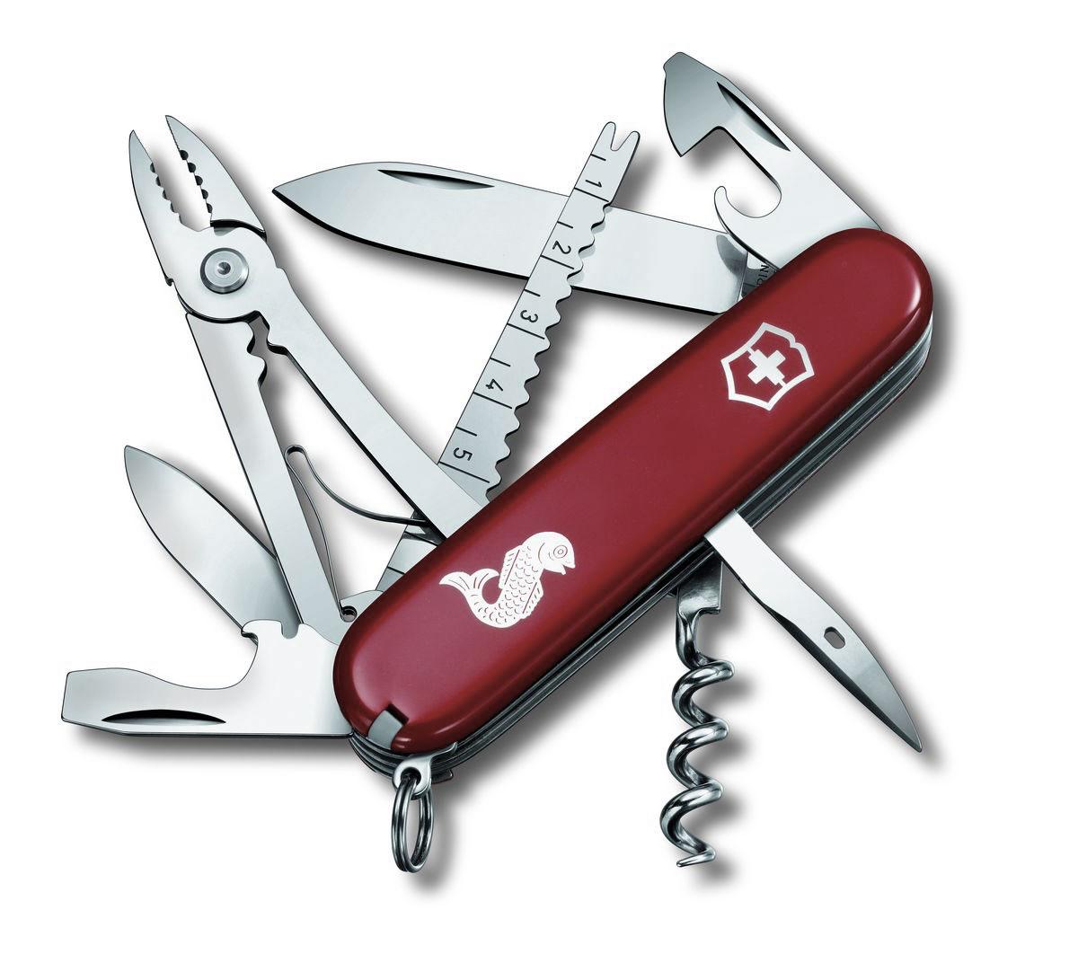 Нож перочинный Victorinox Angler, цвет: красный, 19 функций, 9,1 см1.3653.72Лезвие перочинного складного ножа Victorinox Angler изготовлено из высококачественной нержавеющей стали. Ручка, выполненная из прочного пластика, обеспечивает надежный и удобный хват. Хорошее качество, надежный долговечный материал и эргономичная рукоятка - что может быть удобнее на природе или на пикнике! Функции ножа: Большое лезвие. Малое лезвие. Штопор. Консервный нож с малой отверткой. Открывалка для бутылок с отверткой. Инструмент для снятия изоляции. Шило, кернер. Кольцо для ключей. Пинцет. Зубочистка. Инструмент для чистки рыбы с инструментом для извлечения рыболовного крючка. Линейка (сантиметры и дюймы). Плоскогубцы с кусачками для проводов и инструментом для обжима проводов. Длина ножа в сложенном виде: 9,1 см. Длина ножа в разложенном виде: 16 см. Длина большого лезвия: 7 см. Длина малого лезвия: 4 см.