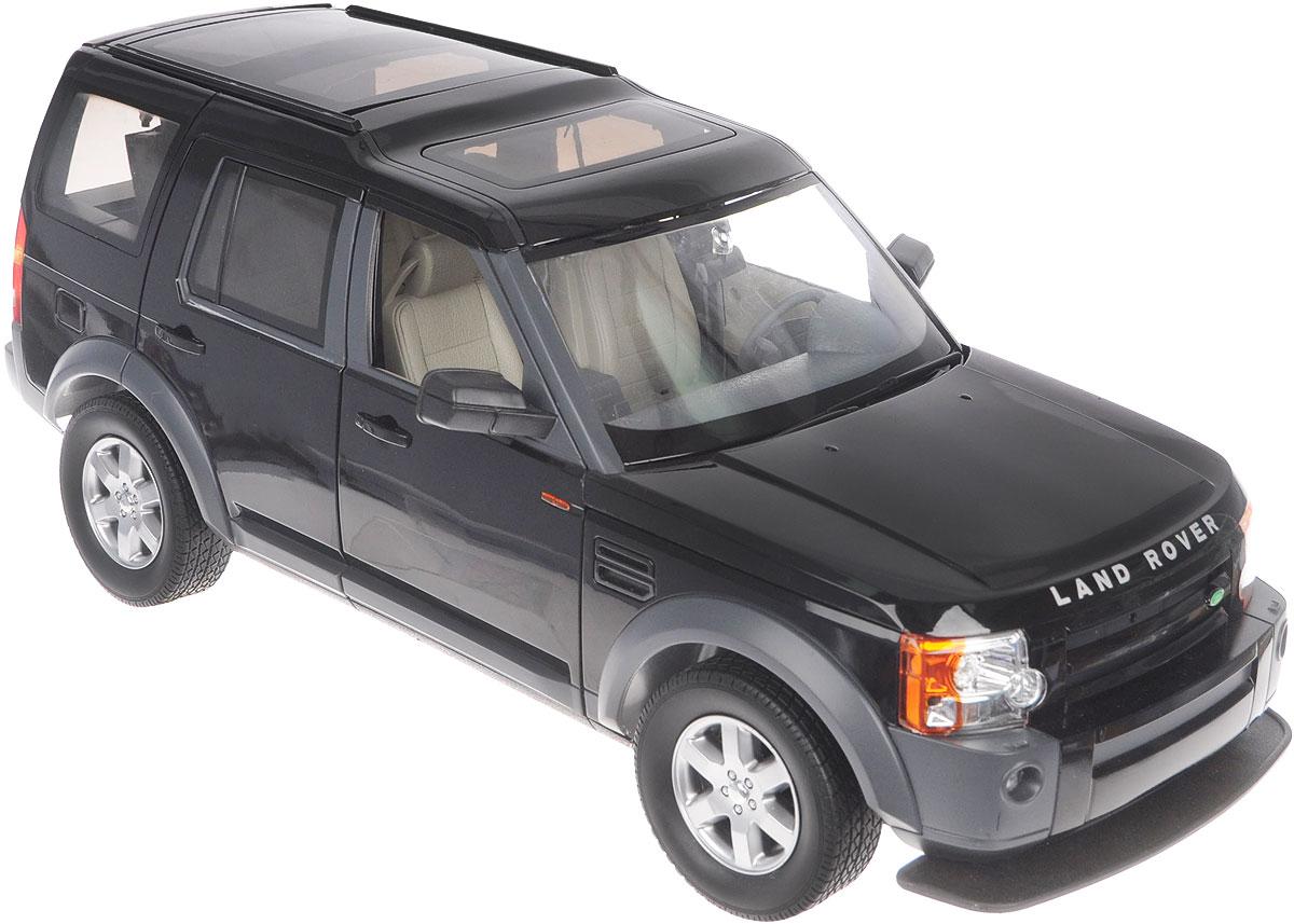 Rastar Радиоуправляемая модель Landrover Discovery 3 цвет черный13000/LR3-10_черныйРадиоуправляемая модель Rastar Landrover Discovery 3 станет отличным подарком любому мальчику! Все дети хотят иметь в наборе своих игрушек ослепительные, невероятные и крутые автомобили на радиоуправлении. Тем более, если это автомобиль известной марки с проработкой всех деталей, удивляющий приятным качеством и видом. Одной из таких моделей является автомобиль на радиоуправлении Rastar Landrover Discovery 3. Это точная копия настоящего авто в масштабе 1:10. Авто обладает неповторимым провокационным стилем. Потрясающая маневренность, динамика и покладистость - отличительные качества этой модели. Капот, передние двери, багажник открываются. Приборная панель и салон выполнены в мельчайших подробностях. Возможные движения: вперед, назад, вправо, влево, остановка. Имеются световые эффекты. Пульт управления работает на частоте 27 MHz. Игрушка работает от сменного аккумулятора (входит в комплект). Для работы пульта управления необходима 1...