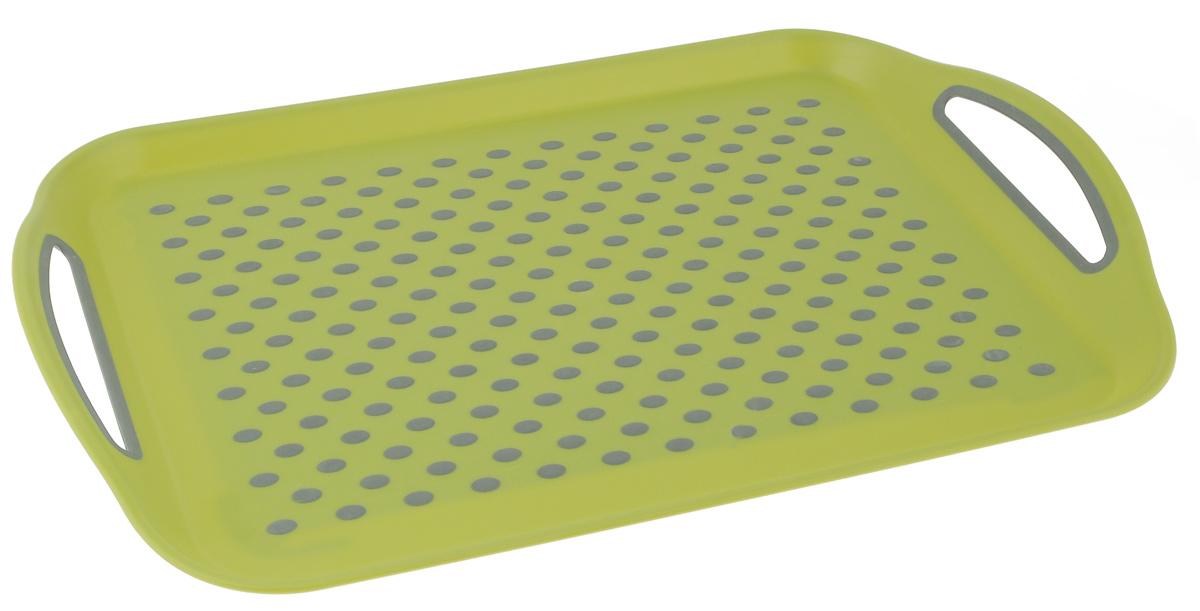 Поднос Bohmann, цвет: зеленый, серый, 45,5 см х 32 см02545BH/NEW_зеленыйПрямоугольный поднос Bohmann изготовлен из высококачественного пластика с нескользящими силиконовыми вставками. Благодаря таким вставкам, посуда не ездит по поверхности и останется на своем месте, даже если поднос наклонить. Поднос оснащен невысокими бортиками и ручками, благодаря которым его удобно переносить. Может использоваться как для сервировки, так и для декора кухни. Поднос прекрасно дополнит интерьер и добавит в обычную обстановку нотки романтики и изящества.