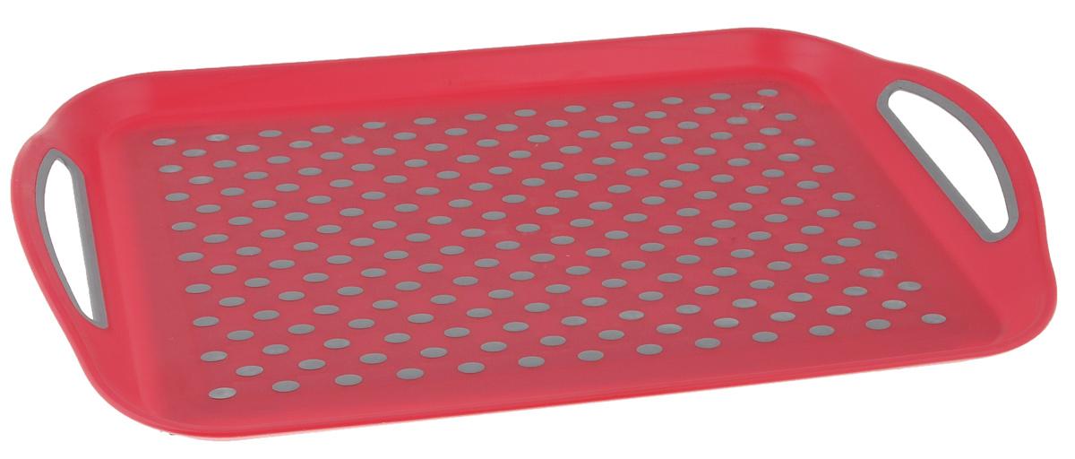 Поднос Bohmann, цвет: красный, серый, 45,5 см х 32 см02545BH/NEWПрямоугольный поднос Bohmann изготовлен из высококачественного пластика с нескользящими силиконовыми вставками. Благодаря таким вставкам, посуда не ездит по поверхности и останется на своем месте, даже если поднос наклонить. Поднос оснащен невысокими бортиками и ручками, благодаря которым его удобно переносить. Может использоваться как для сервировки, так и для декора кухни. Поднос прекрасно дополнит интерьер и добавит в обычную обстановку нотки романтики и изящества.