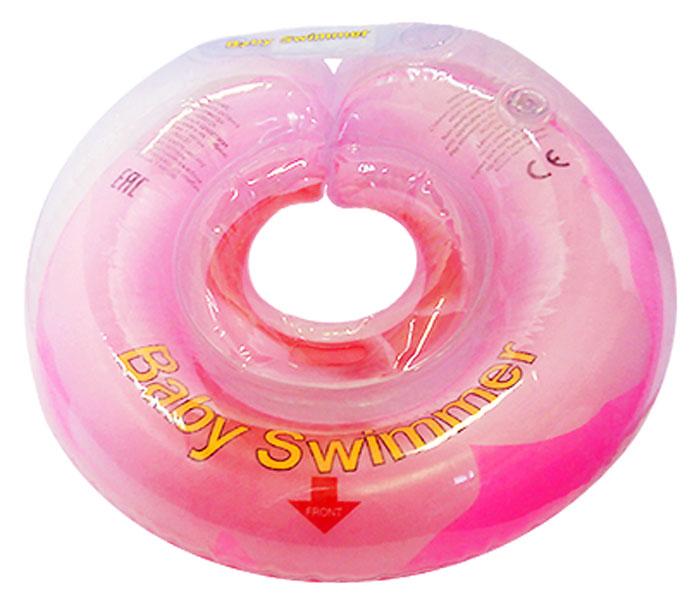 Baby Swimmer Круг на шею Розовый бутон с погремушкой 6-36 кг ( BS12А-B_розовый бутон )