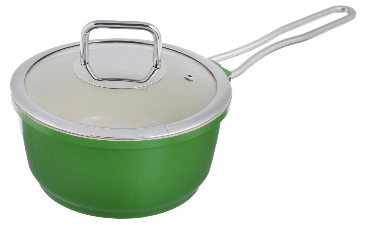 """Сотейник """"Mayer & Boch"""" с крышкой, с керамическим покрытием, цвет: зеленый. Диаметр 18 см"""