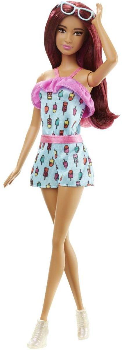 Barbie Кукла Fashionistas цвет платья бирюзовый фуксияDGY54_DGY60Очаровательная куколка Barbie Fashionistas порадует вашу малышку и доставит ей много удовольствия от часов, посвященных игре с ней. Кукла с длинными темными волосами, одета в стильный комбинезон с шортиками, на ногах куколки - оригинальные перламутровые кроссовки на платформе. Куклы Barbie Fashionistas - это множество образов и море удовольствия! Стань модельером и подбирай новые дизайнерские решения! У кукол разный цвет волос, глаз и кожи, разные прически, разная форма лица. Им подходит любой стиль: спортивные маечки и современная высокая мода, популярные платья в горошек и блузки с принтами, богемный шик и рокерские наряды, босоножки на каблуках, балетки, кроссовки, милые ботиночки. Барби любят украшения: бусы, очки, сережки. Они могут носить челки и проборы, кудряшки и прямые волнистые волосы, быть брюнетками, блондинками и рыжими, краситься в абсолютно черный и в современный пурпурный. Собери их всех!