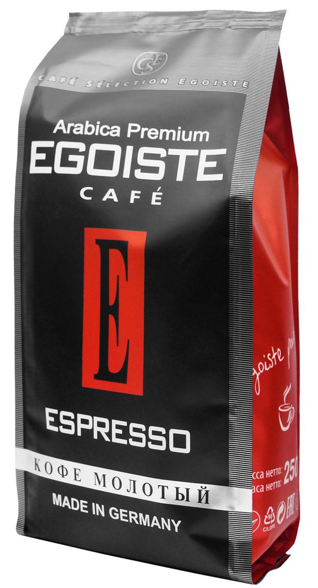 Egoiste Espresso кофе молотый, 250 г (п/у)4260283250172Венская обжарка придает кофе Egoiste Espresso глубокий, насыщенный вкус настоящего итальянского эспрессо. Кофе с самым богатым ароматом, рекомендующийся для приготовления в кофеварке или кофе-машине.