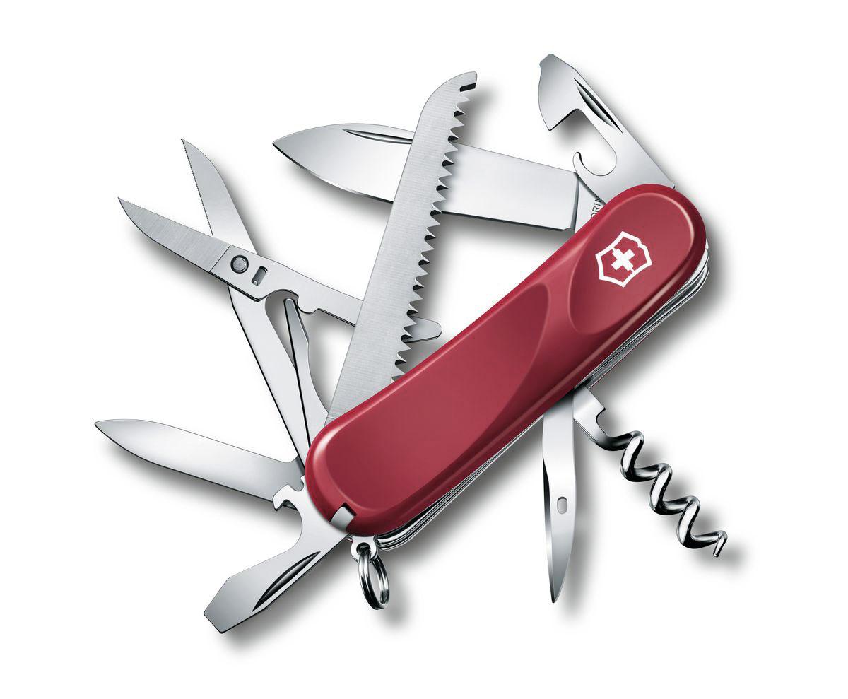 Нож перочинный Victorinox Evolution 17, цвет: красный, 15 функций, 8,5 см2.3913.EЛезвие перочинного складного ножа Victorinox Evolution 17 изготовлено из высококачественной нержавеющей стали. Ручка, выполненная из прочного пластика, обеспечивает надежный и удобный хват. Хорошее качество, надежный долговечный материал и эргономичная рукоятка - что может быть удобнее на природе или на пикнике! Функции ножа: Лезвие. Пилка для ногтей с инструментом по уходу за ногтями. Ножницы с серрейторной заточкой. Консервный нож с малой отверткой. Открывалка для бутылок с фиксирующейся отверткой и инструментом для снятия изоляции. Пила по дереву. Штопор. Шило, кернер. Кольцо для ключей. Пинцет. Зубочистка. Длина ножа в сложенном виде: 8,5 см. Длина ножа в разложенном виде: 15 см.