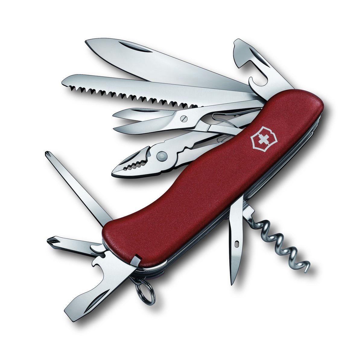 Нож перочинный Victorinox Hercules, цвет: красный, 18 функций, 11,1 см0.9043Лезвие перочинного складного ножа Victorinox Hercules изготовлено из высококачественной нержавеющей стали. Ручка, выполненная из прочного пластика, обеспечивает надежный и удобный хват. Хорошее качество, надежный долговечный материал и эргономичная рукоятка - что может быть удобнее на природе или на пикнике! Функции ножа: Фиксирующееся лезвие. Штопор. Консервный нож с малой отверткой. Открывалка для бутылок с отверткой и инструментом для снятия изоляции. Шило, кернер. Кольцо для ключей. Пинцет. Зубочистка. Пила по дереву. Ножницы. Длинная крестовая отвертка. Плоскогубцы с кусачками для проводов и инструментом для обжима проводов. Крестовая отвертка. Длина ножа в сложенном виде: 11,1 см. Длина ножа в разложенном виде: 19,5 см.