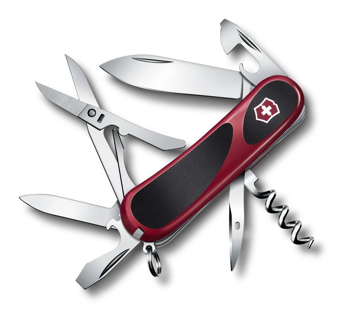 Нож перочинный Victorinox Evolution S14, цвет: красный, черный, 14 функций, 8,5 см2.3903.CЛезвие перочинного складного ножа Victorinox Evolution S14 изготовлено из высококачественной нержавеющей стали. Ручка, выполненная из прочного пластика с резиновыми вставками, обеспечивает надежный и удобный хват. Хорошее качество, надежный долговечный материал и эргономичная рукоятка - что может быть удобнее на природе или на пикнике! Функции ножа: Лезвие. Пилка для ногтей с инструментом по уходу за ногтями. Ножницы с серрейторной заточкой. Консервный нож с малой отверткой. Открывалка для бутылок с фиксирующейся отверткой и инструментом для снятия изоляции. Штопор. Шило, кернер. Кольцо для ключей. Пинцет. Зубочистка. Длина ножа в сложенном виде: 8,5 см. Длина ножа в разложенном виде: 15 см.