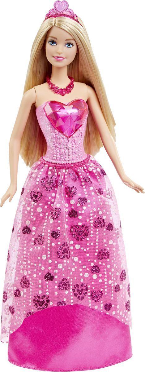Barbie Кукла Самоцветная ПринцессаDHM49_DHM53Кукла Barbie Принцесса непременно обрадует вашу малышку. Куколка с длинными светлыми волосами одета в шикарный блестящий наряд, состоящий из пластикового топа и текстильной юбочки. У Принцессы блестящее розовое сердечко на лифе и сердечки на розовой юбке. Дополняют образ принцессы диадема и красные туфельки на каблуках. Головка, ручки и ножки Барби подвижны, что позволит придавать кукле различные позы, а длинные волосы куклы так интересно укладывать в разнообразные прически. Одежда и аксессуары подходят всем куклам-принцессам, русалкам и феям (продаются отдельно). Ваша малышка придет в восторг от такого подарка, и с удовольствием будет играть с куколкой, которая уже готова править своим королевством!
