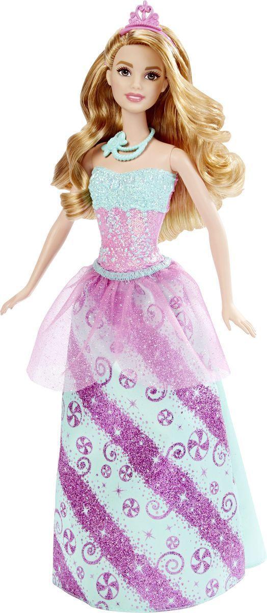 Barbie Кукла Конфетная ПринцессаDHM49_DHM54Кукла Barbie Принцесса непременно обрадует вашу малышку. Куколка с длинными светлыми волосами одета в шикарный блестящий наряд, состоящий из пластикового топа и текстильной юбочки. У Принцессы конфетный рисунок на розово-бирюзовом лифе и юбке. Дополняют образ принцессы диадема и бирюзовые туфельки на каблуках. Головка, ручки и ножки Барби подвижны, что позволит придавать кукле различные позы, а длинные волосы куклы так интересно укладывать в разнообразные прически. Одежда и аксессуары подходят всем куклам-принцессам, русалкам и феям (продаются отдельно). Ваша малышка придет в восторг от такого подарка, и с удовольствием будет играть с куколкой, которая уже готова править своим королевством!