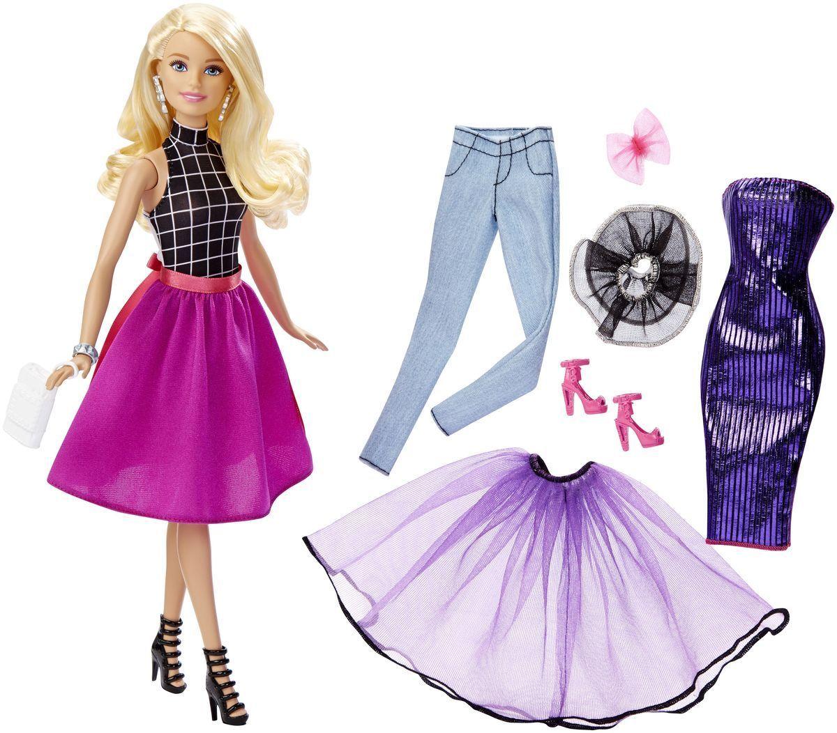 Barbie Кукла Подбирай наряды цвет одежды фиолетовый сиреневыйDJW57_DJW58Кукла Barbie Подбирай наряды (Fashion Mixn Match) - это бескрайние возможности для придумывания захватывающих историй! Всего несколько украшений позволяют создать больше 20 образов! На Барби надеты майка с принтом, юбка (она же накидка), туфли, браслет, клатч и серьги. Не нравится? Переоденьте ее! Имеется много дополнительной одежды, дневной и ночной, повседневной и парадной: джинсы, платье с блестками, легкие верхние юбки. У куклы на голове бант, кружевной воротник и запасная обувь. В наборе - кукла Барби и предметы одежды: двусторонняя маечка, юбка-накидка, легкая верхняя юбка, брюки, двустороннее платье, воротничок, бант, сумочка, две пары обуви и украшение (браслет или серьги). Ваша малышка придет в восторг от такого подарка, и с удовольствием будет играть с куколкой, которая готова унести ее в мир фантазий: ведь с Барби можно быть кем угодно!
