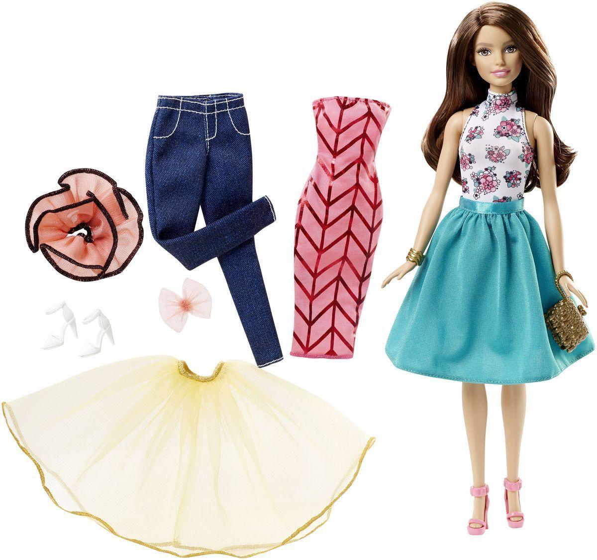 Barbie Кукла Подбирай наряды цвет одежды зеленый розовыйDJW57_DJW59Кукла Barbie Подбирай наряды (Fashion Mixn Match) - это бескрайние возможности для придумывания захватывающих историй! Всего несколько украшений позволяют создать больше 20 образов! На Барби надеты майка с цветами, зеленая юбка (она же накидка), белые туфли, браслет, клатч и серьги. Не нравится? Переоденьте ее! Имеется дополнительная одежда, дневная и ночная, повседневная и парадная: джинсы, платье, легкие верхние юбки. У куклы на голове бант, кружевной воротник и запасная обувь. В наборе - кукла Барби и предмета одежды: двусторонняя маечка, юбка-накидка, легкая верхняя юбка, брюки, двустороннее платье, воротничок, бант, сумочка, две пары обуви и украшение (браслет или серьги). Ваша малышка придет в восторг от такого подарка, и с удовольствием будет играть с куколкой, которая готова унести ее в мир фантазий: ведь с Барби можно быть кем угодно!