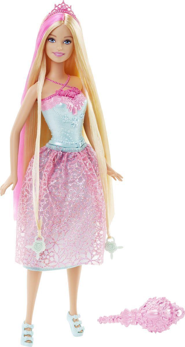 Barbie Кукла Принцесса с длинными волосами цвет одежды бирюзовый розовыйDKB56_DKB60Новая кукла Barbie Принцесса с длинными волосами очарует своими роскошными локонами! Дайте волю своей фантазии и уложите 20-сантиметровые разноцветные волосы принцессы Barbie в чудесные прически! К кукле прилагается расческа и диадема, а в ее волосы вплетены две бусинки, подходящие к парикмахерским инструментам Barbie из набора Barbie Snapn Style Princess Doll (продается отдельно). Инструмент захватывает бусинки, и юным стилистам остается лишь нажать на кнопку и завить волосы куклы. Почувствуй себя настоящим стилистом - это весело и просто! В набор входит кукла-принцесса Barbie с длинными волосами, две бусинки, расческа и диадема.