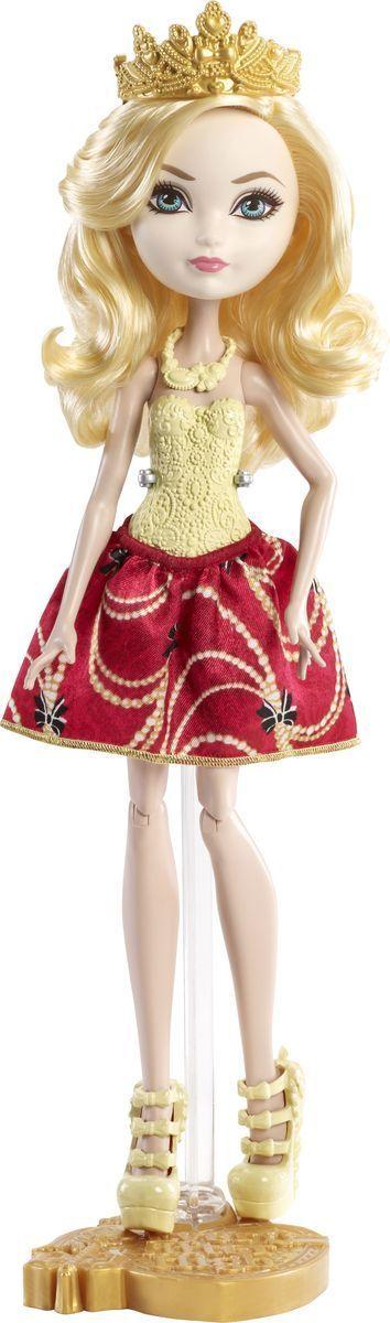 Ever After High Кукла Эппл ВайтDLB34_DLB36Очаровательная куколка Ever After High Эппл Вайт обязательно привлечет внимание вашей маленькой любительницы сказок и волшебства. Эппл Уайт - дочь Белоснежки, прекрасной правительницы мира сказок, закончив обучение в школе Долго и Счастливо, она станет новой правительницей. На куколке надето красивое красное платье с обтягивающим лифом желтого цвета. Образ дополняют стильные красные ботильоны, на голове - диадема. Длинные золотистые волосы мягкие и послушные, их приятно расчесывать и создавать различные прически. Руки и ноги у куклы шарнирные, что позволяет придавать ей различные позы. Не упустите возможность переписать историю вместе с учениками школы Ever After - детьми персонажей известных сказок, которым предстоит решить, следовать ли судьбе своих родителей и прожить положенный сюжет, или изменить то, что им предначертано и самим выбирать свою судьбу.