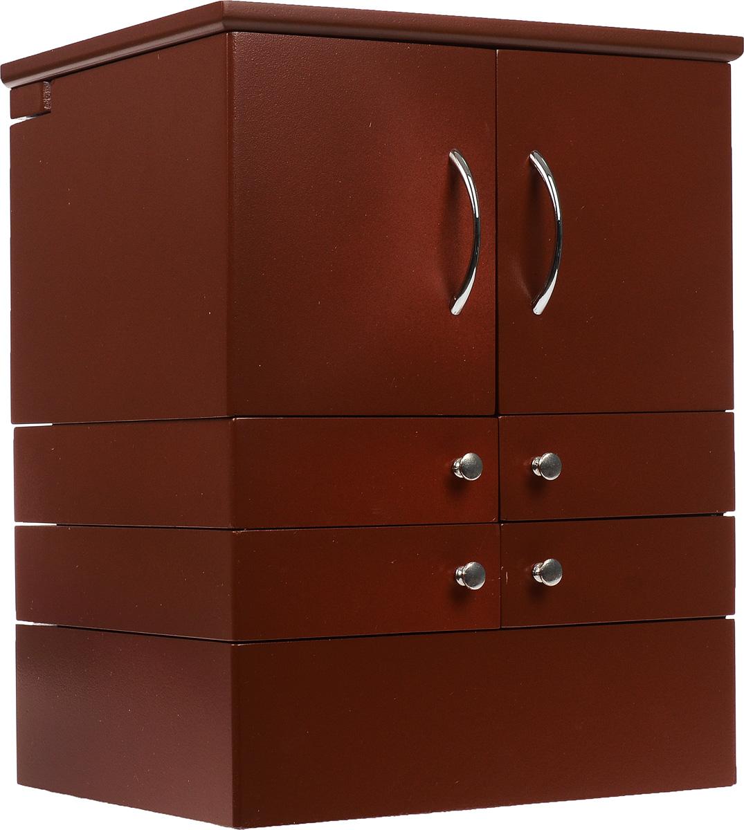 Шкатулка для косметики, настольная, цвет: коричневый.FH-JC0502Настольная раздвижная шкатулка для косметики поможет стильно, аккуратно и в одном месте хранить всю вашу косметику. Также может использоваться для хранения бижутерии и ювелирных украшений. Шкатулка выполнена из дерева, окрашенного краской белого цвета. Изделие имеет 4 яруса с раздвижными ящичками. Нижний ярус представляет собой ящик с двумя секциями, одна из которых имеет 7 продолговатых отделений для хранения тюбиков. Второй и третий ярус выполнены в виде ящичков с металлическими ручками, где удобно хранить различные мелкие баночки с косметикой. Верхний ярус также содержит два отделения, одно из них имеет 30 квадратных секций для хранения губных помад. Шкатулка дополнительно имеет 10 небольших отделений, куда очень удобно помещаются тени или румяна, а также два отдела для хранения аксессуаров, например, кистей. В шкатулке предусмотрено квадратное зеркальце, расположенное с внутренней стороны крышки. Дно ящиков отделано мягкой бархатистой тканью, что исключает...