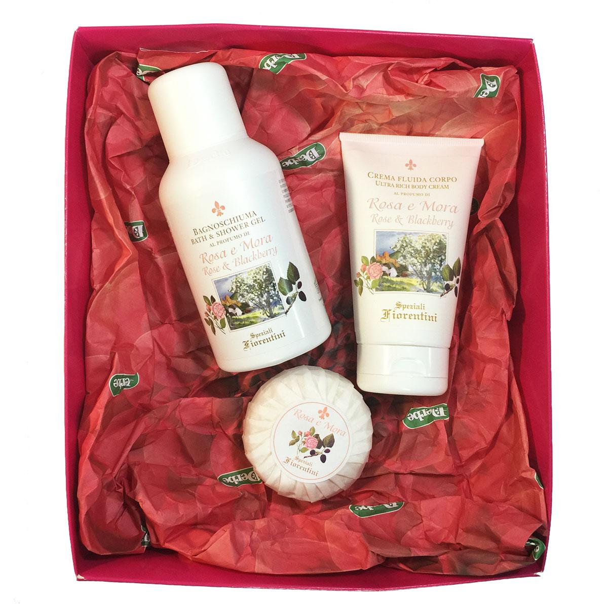 Derbe Подарочный набор Роза и ежевика: крем для тела, 150 мл, гель для душа, 250 мл, твердое мыло, 100 г