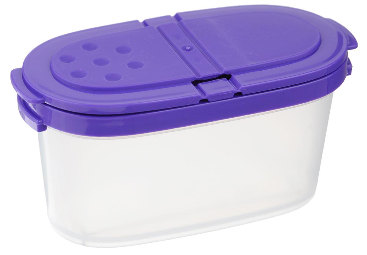 Контейнер для специй Idea, цвет: фиолетовый, прозрачный, 120 млМ 1245_фиолетовыйКонтейнер Idea, изготовленный из высококачественного пластика, позволит вам хранить разнообразные специи. Изделие оснащено крышкой с 2 отделениями. Одно отделение имеет 1 большое отверстие, другое выполнено в виде сита с отверстиями диаметром 4 мм. Контейнер Idea для хранения специй станет незаменимым помощником на вашей кухне.