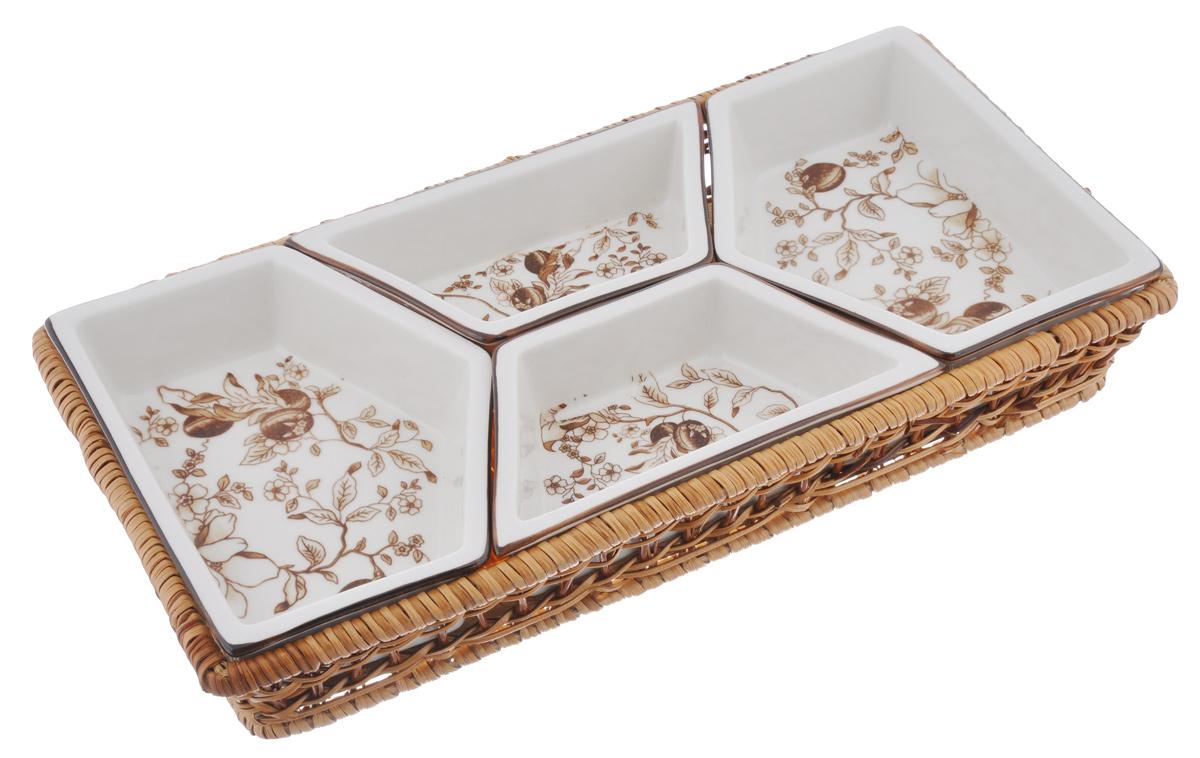 Менажница Bekker Koch, в корзинке, 4 секции, цвет: белый, коричневый, 37 см х 19 см х 7 смBK-7008_белый, коричневыйМенажница Bekker Koch выполнена из высококачественной жаропрочной керамики белого цвета и оформлена изысканным цветочным узором. Она имеет 4 съемных секции для подачи различных закусок, соусов, салатов и многого другого. Секции помещаются в плетеную корзинку. Менажница Bekker Koch красиво оформит сервировку стола и порадует вас стильным дизайном и качеством исполнения. Идеальный вариант как для торжественных случаев, так и для повседневного использования. Подходит для чистки в посудомоечной машине. Размер менажницы (с учетом корзинки): 37 см х 19 см х 7 см. Размер секций: 17,5 см х 13 см х 4,5 см; 17 см х 8,5 см х 4,5 см.